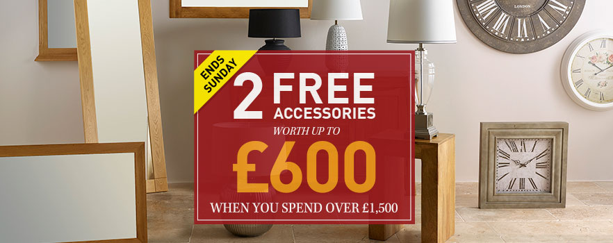 Claim any 2 free clock, lamp or mirror when you spend over £1,500