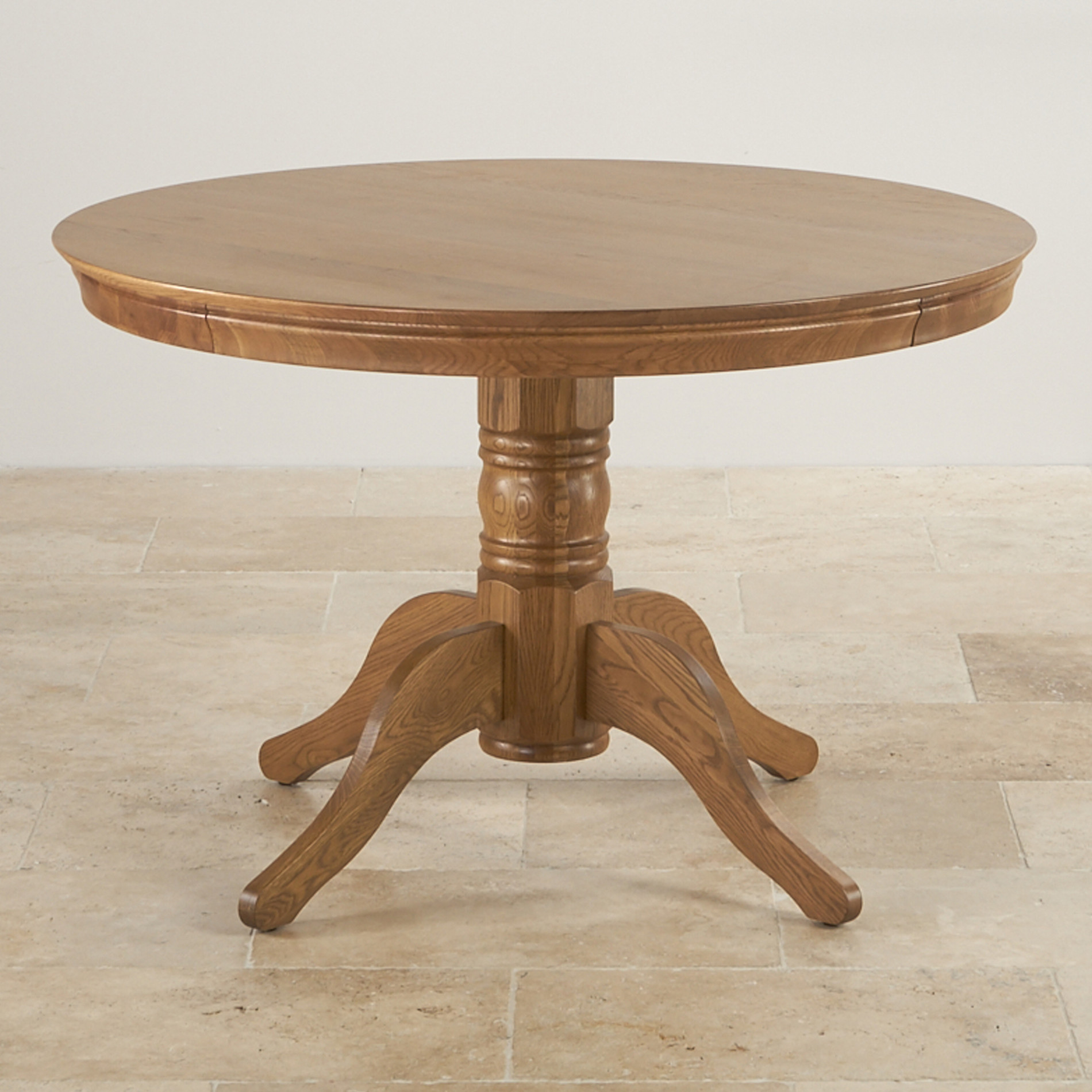 Oak Pedestal Table ~ Round pedestal table in rustic oak furniture land
