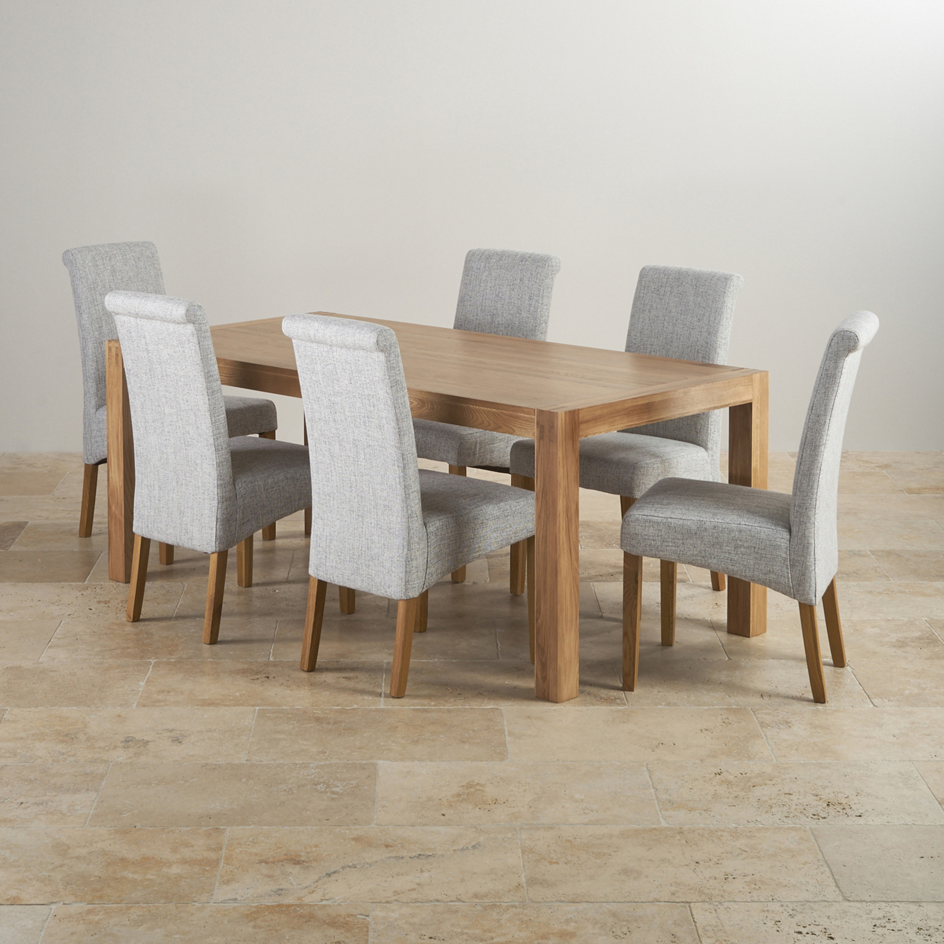 Alto solid oak 6ft dining table with 6 grey fabric chairs for Oak dining table set