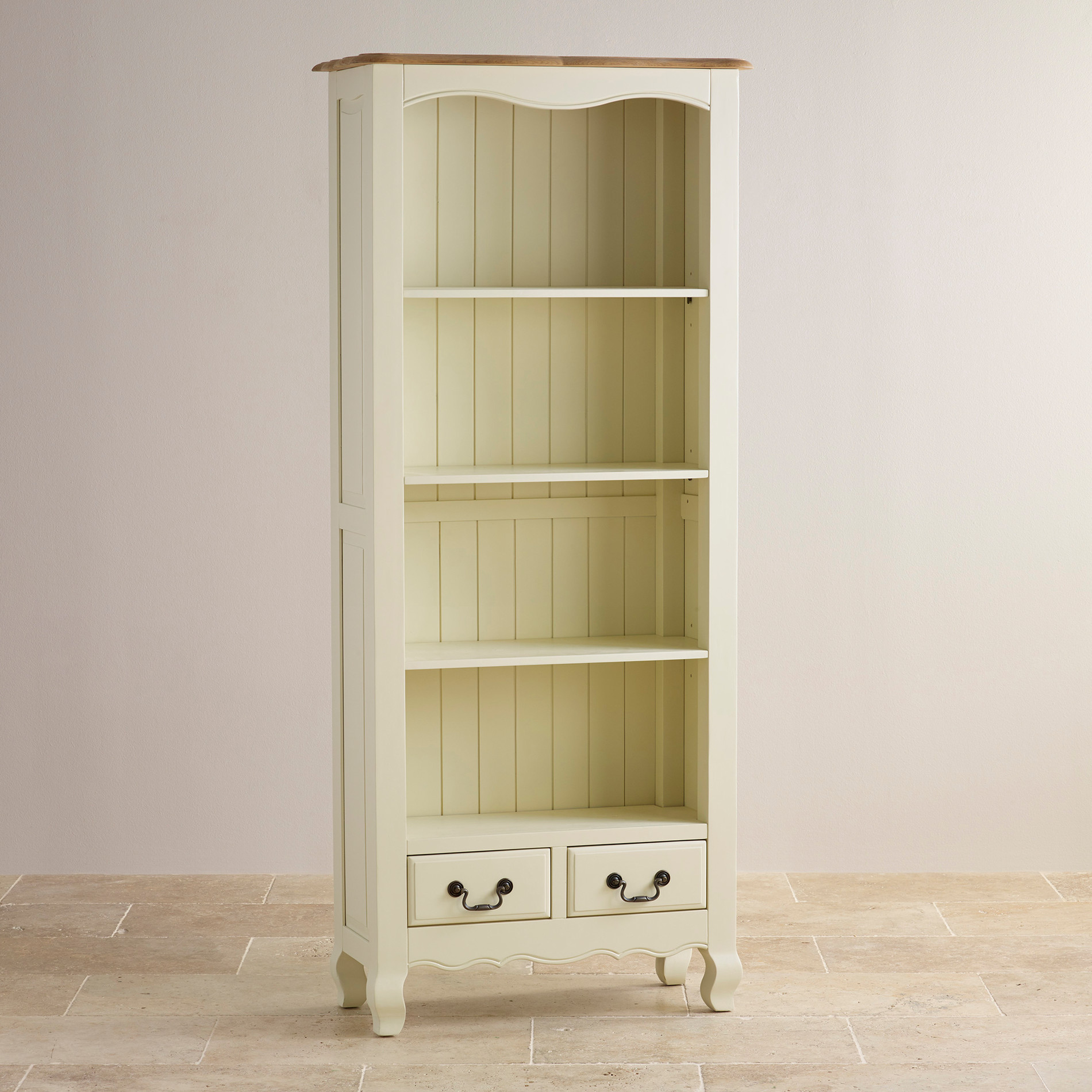 Alton oak corner cabinet oak furniture solutions - Custom Delivery Bella Brushed Oak And Painted Tall Bookcase
