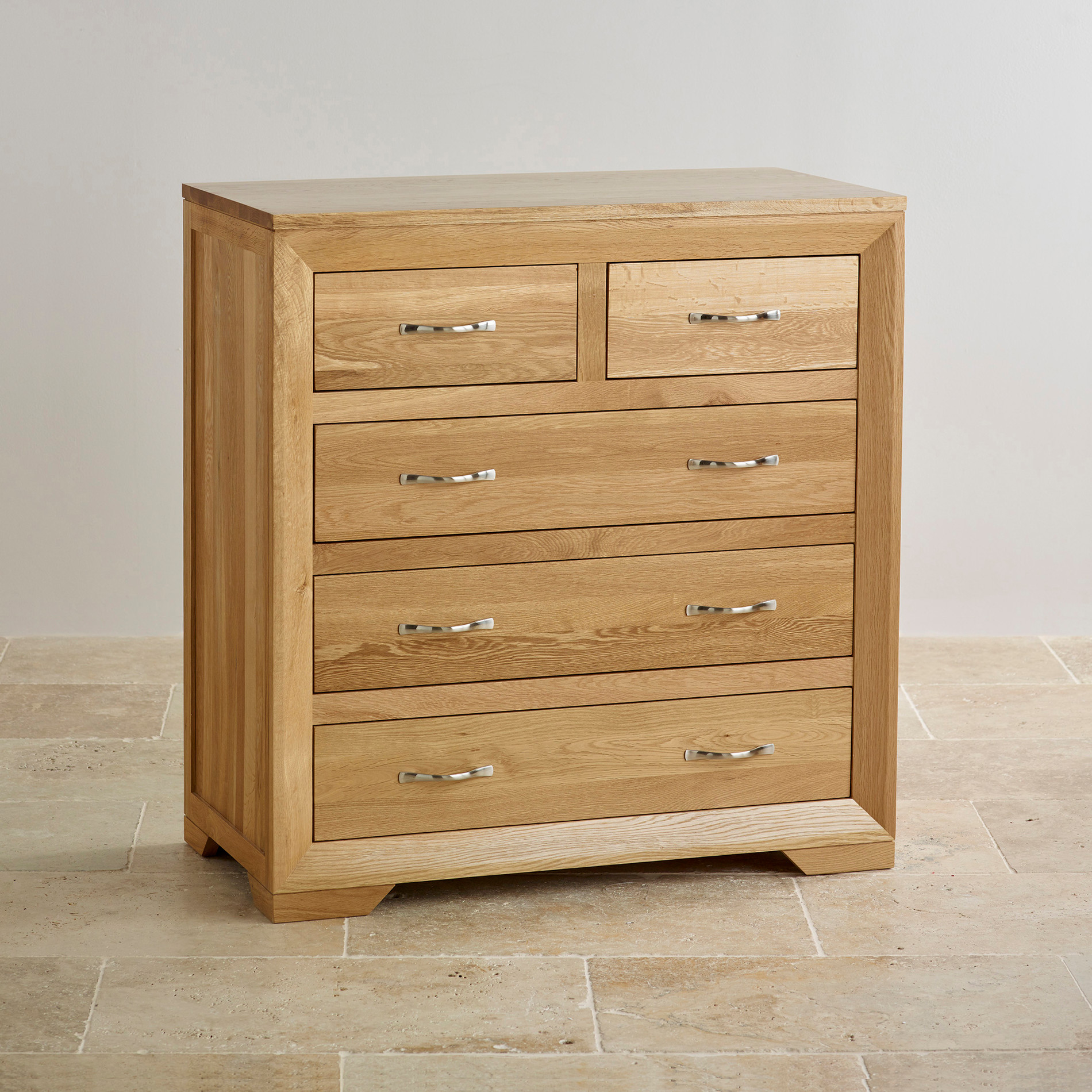 Bevel 5 drawer chest in natural solid oak oak furniture land for Solid oak furniture