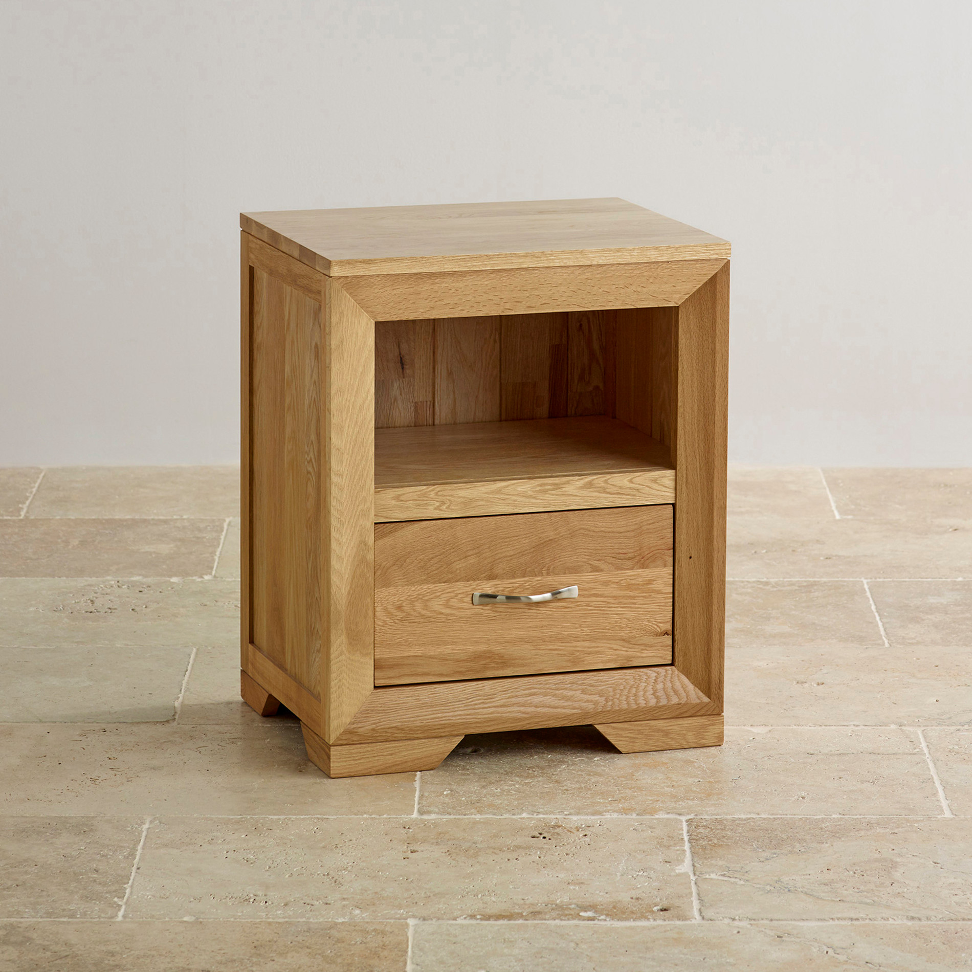 Bevel Bedside Table In Natural Solid Oak Oak Furniture Land