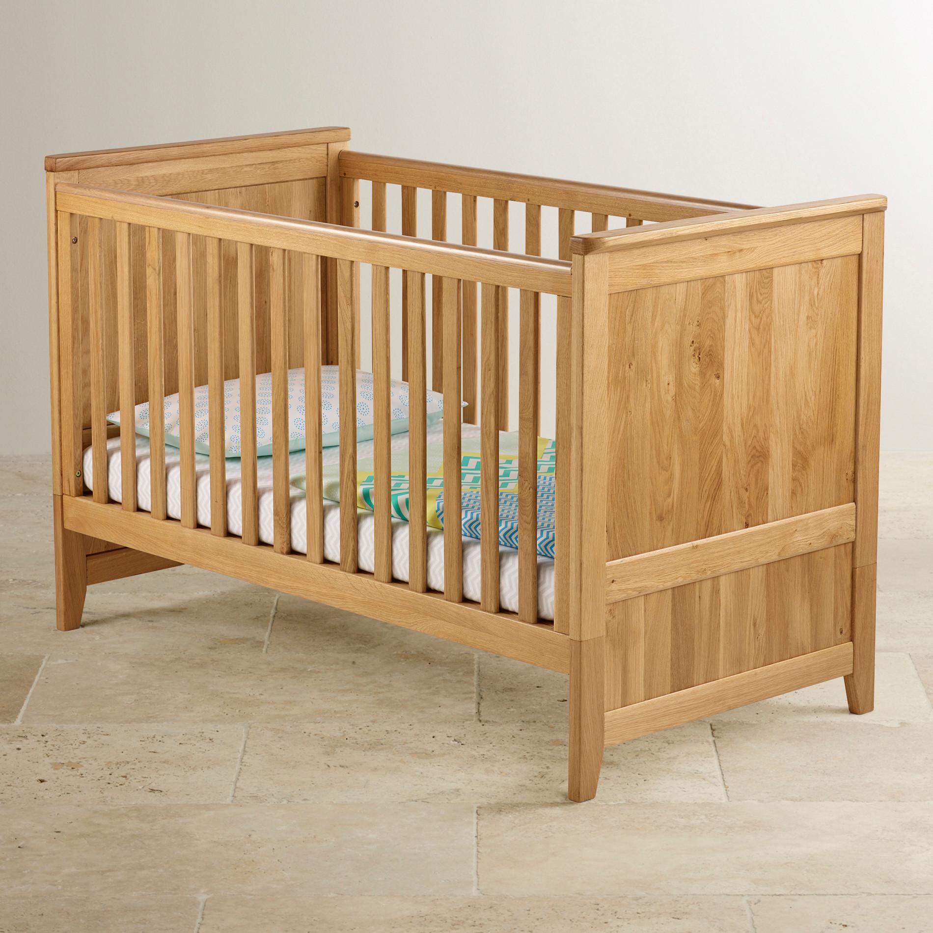 Bevel 3 In 1 Cot Bed In Natural Solid Oak Oak Furniture Land