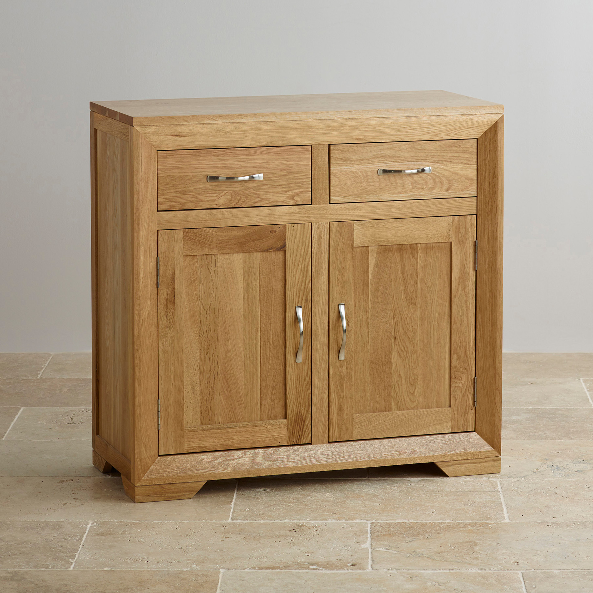 Bevel small sideboard in natural solid oak oak furniture for Oak furniture land