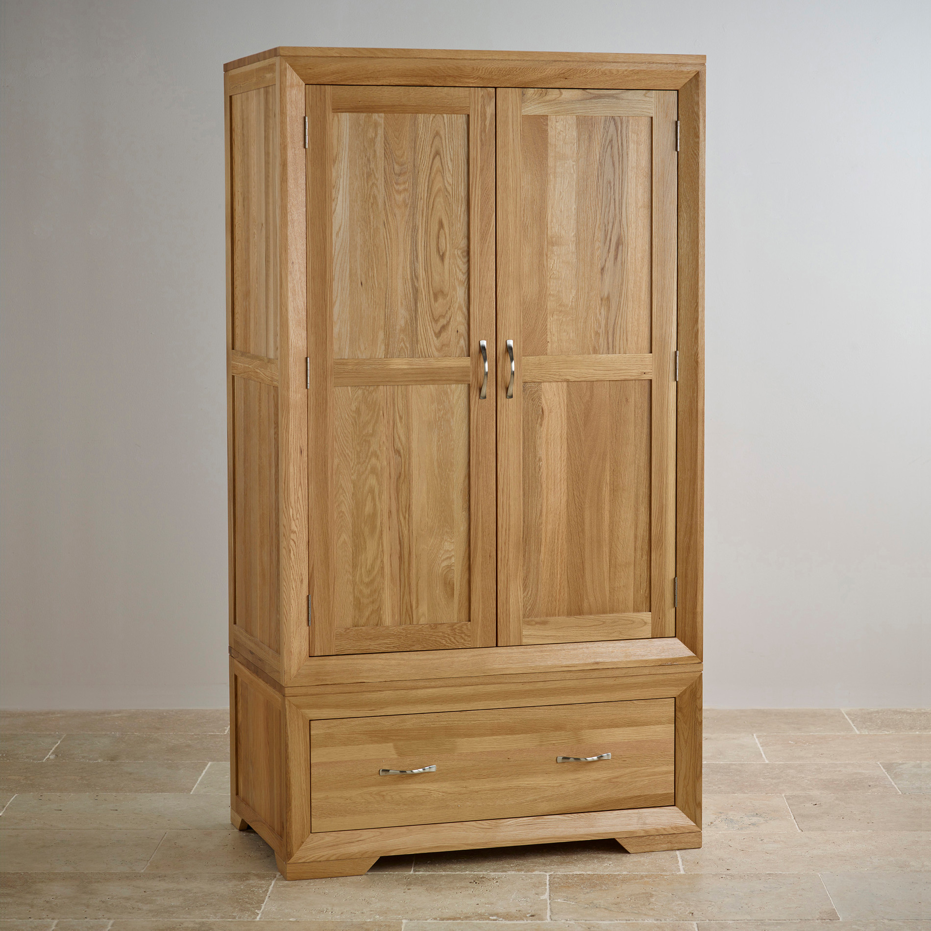 Bevel natural solid oak wardrobe bedroom furniture for Solid oak furniture