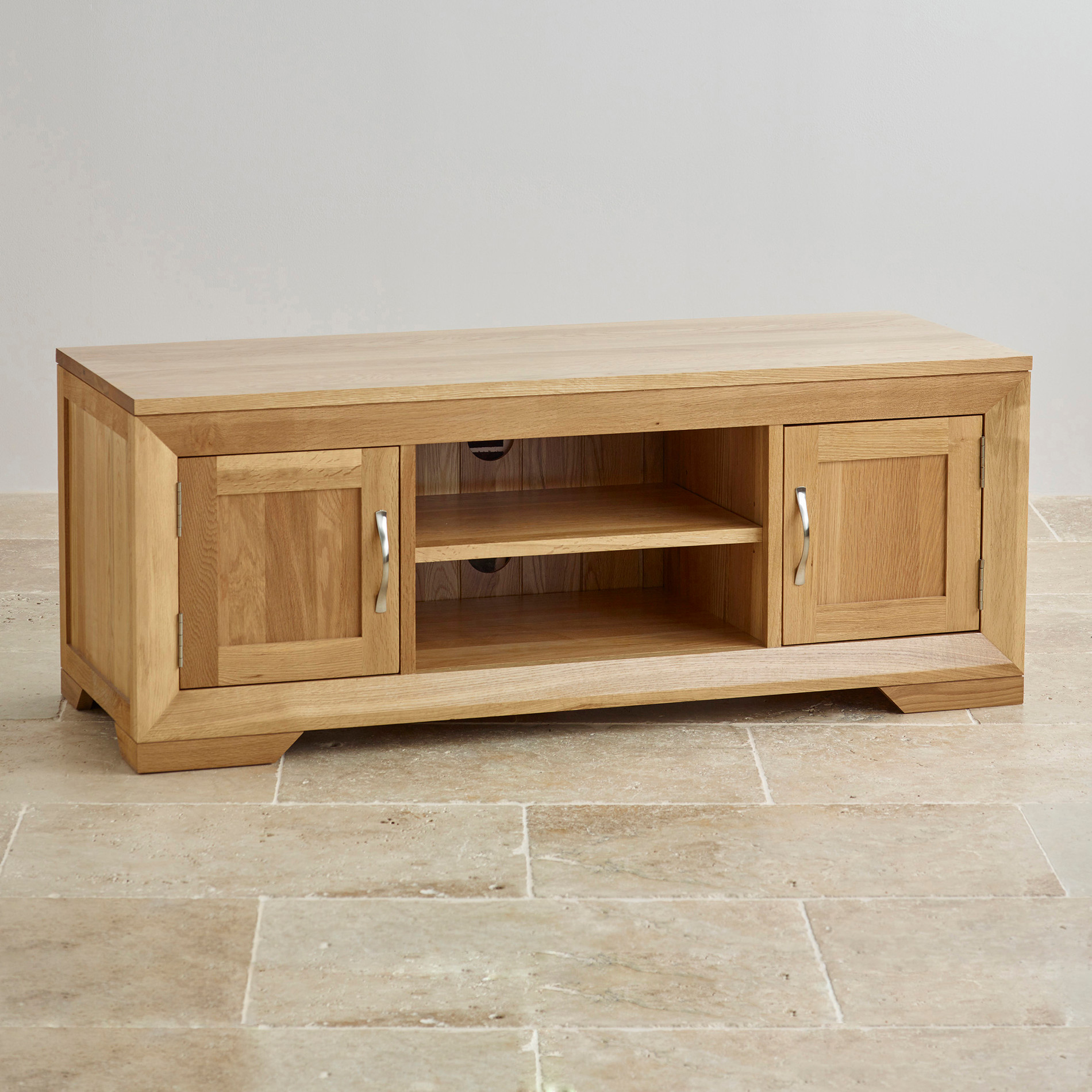 bevel natural solid oak widescreen tv dvd cabinet. Black Bedroom Furniture Sets. Home Design Ideas