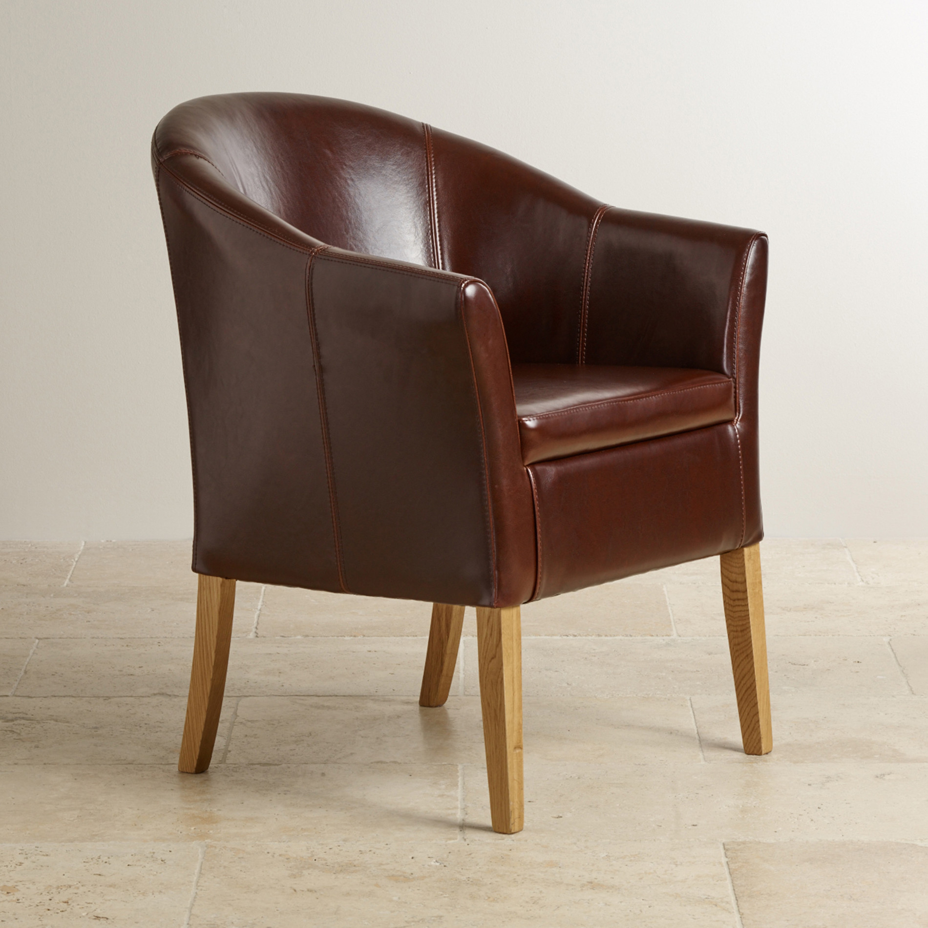 Brown Leather Tub Chair With Solid Oak Legs Oak