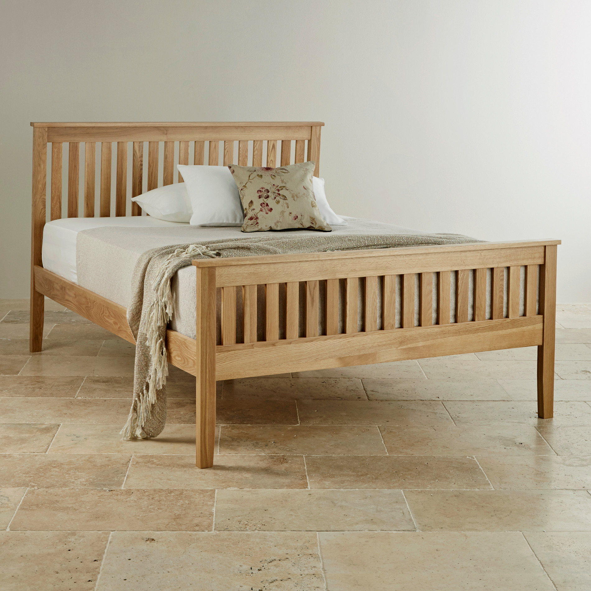 Custom Delivery Cairo Natural Solid Oak 5ft King-Size Bed