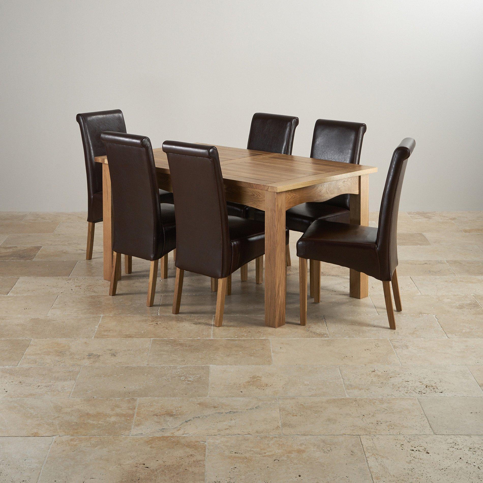 cairo extending dining set in natural oak table 6. Black Bedroom Furniture Sets. Home Design Ideas