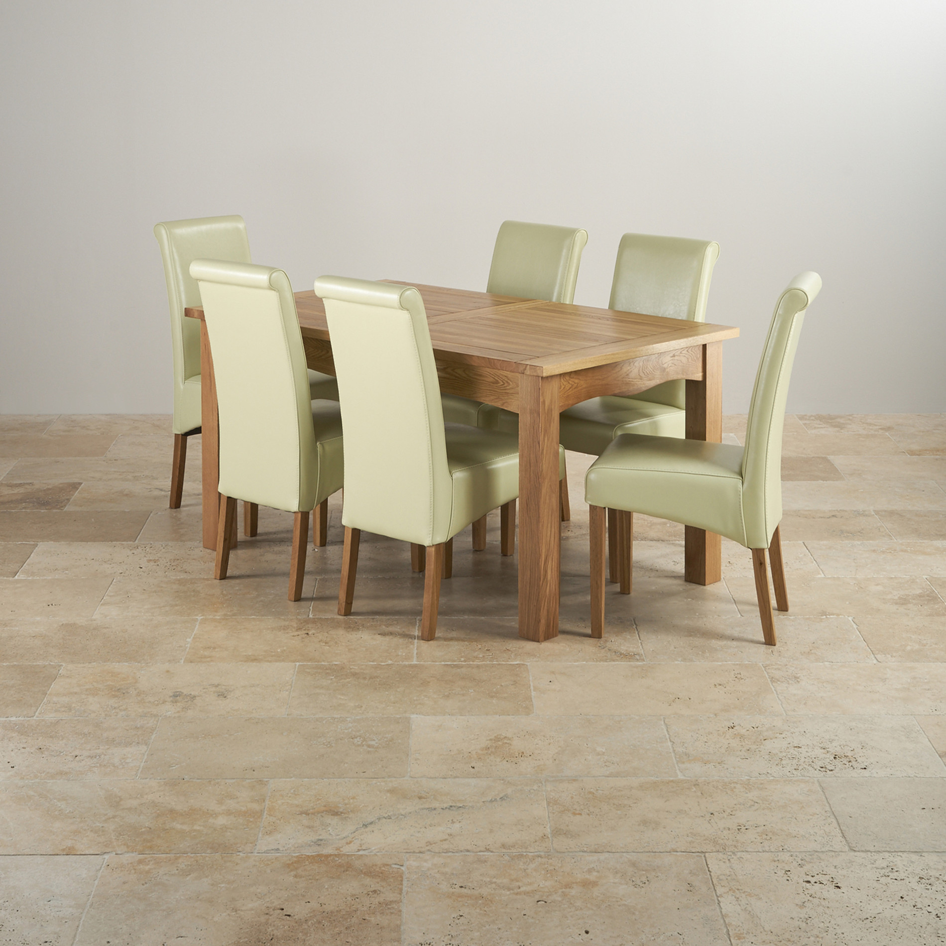 Cairo solid oak 5ft dining table with 6 cream chairs for 5ft coffee tables