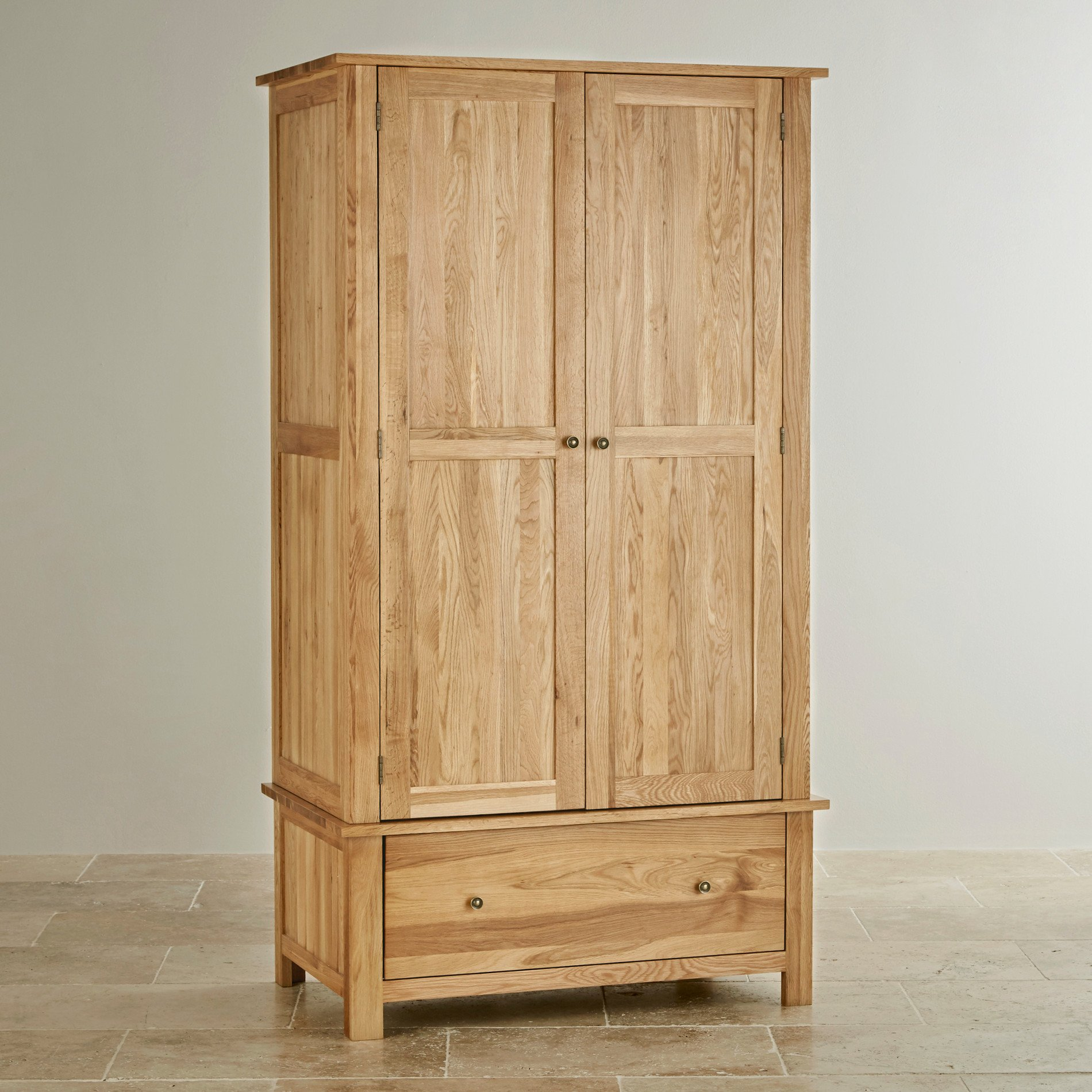 cairo natural solid oak double wardrobe bedroom furniture. Black Bedroom Furniture Sets. Home Design Ideas