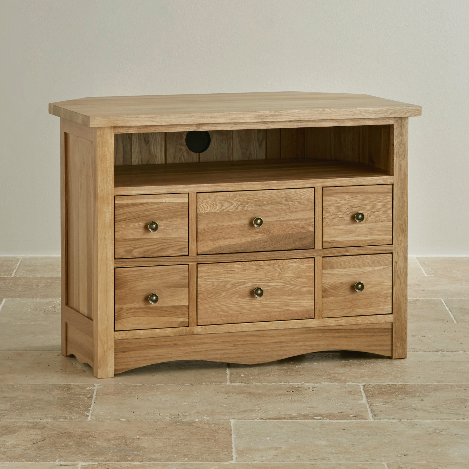 Cairo corner tv cabinet in natural solid oak oak for Corner cabinet