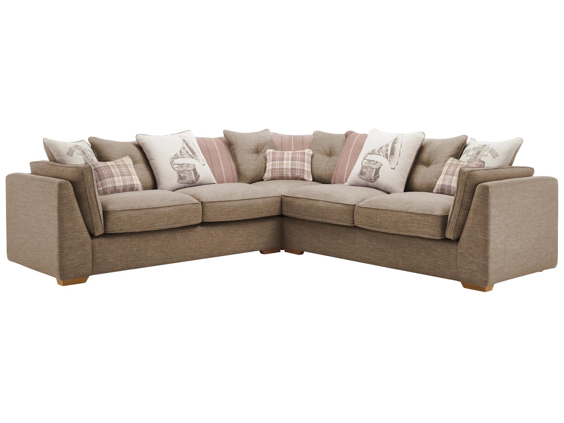 California Large Corner Sofa Pillow Back Oak Furniture Land