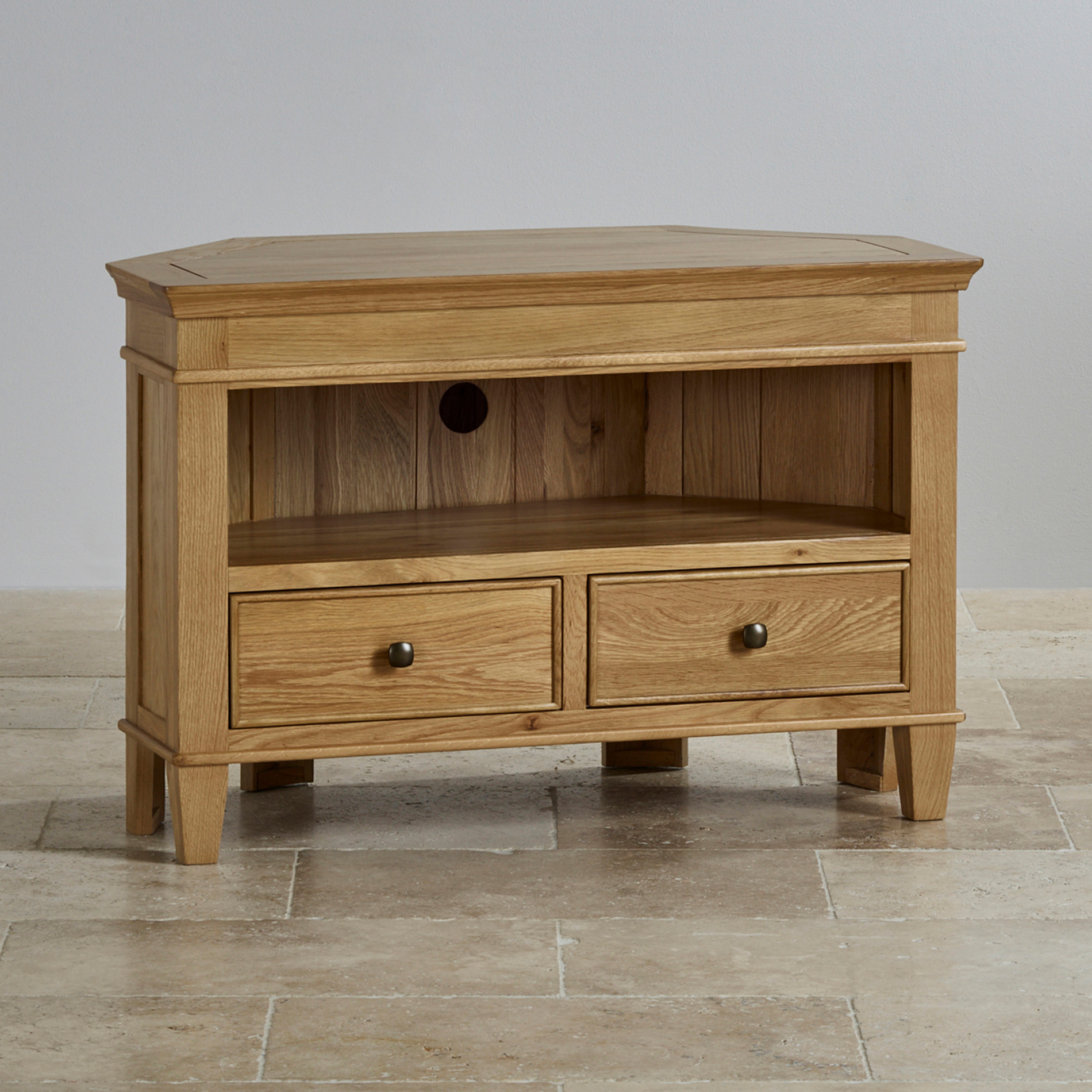 Classic corner tv cabinet in natural solid oak oak for Furniture land