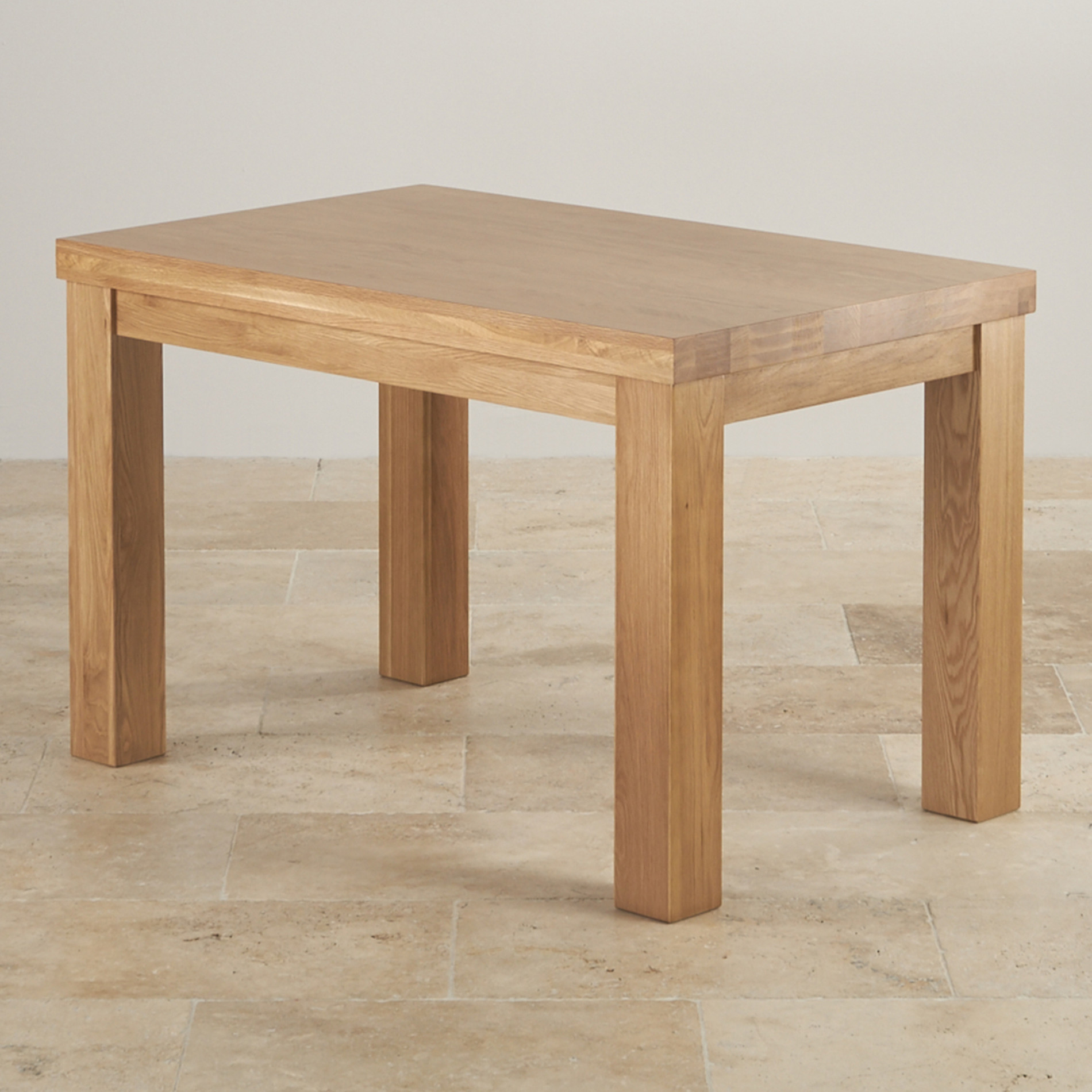 Contemporary chunky dining table in natural oak for Solid oak dining table