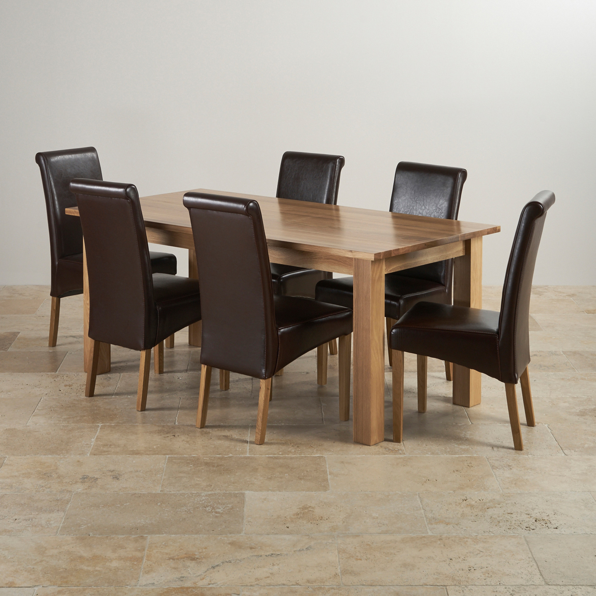 Contemporary Dining Set In Natural Oak Dining Tables And  : contemporary natural solid oak dining set 6ft table with 6 scroll back brown leather chairs 574ebf999f7b6 from elivingroomfurniture.com size 1900 x 1900 jpeg 597kB