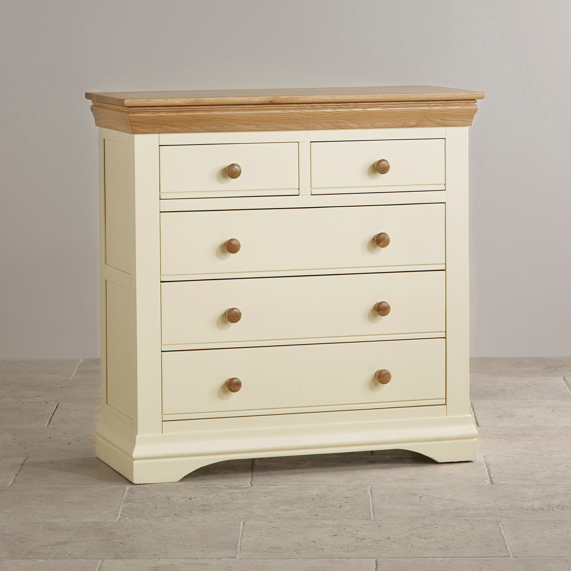 Country Cottage Painted 3 2 Chest of Drawers in Natural Oak
