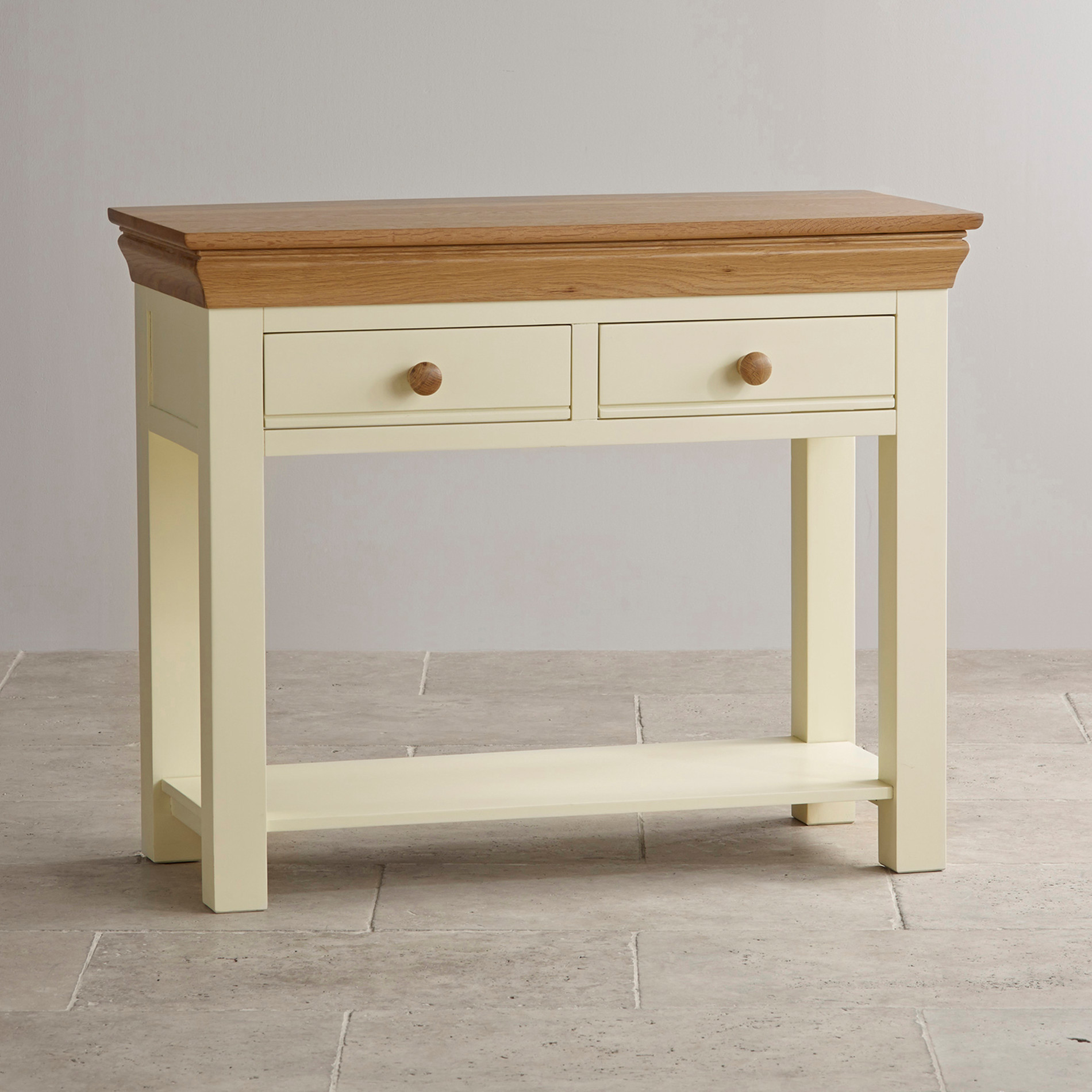 Country cottage console table in painted oak oak for Painted foyer tables