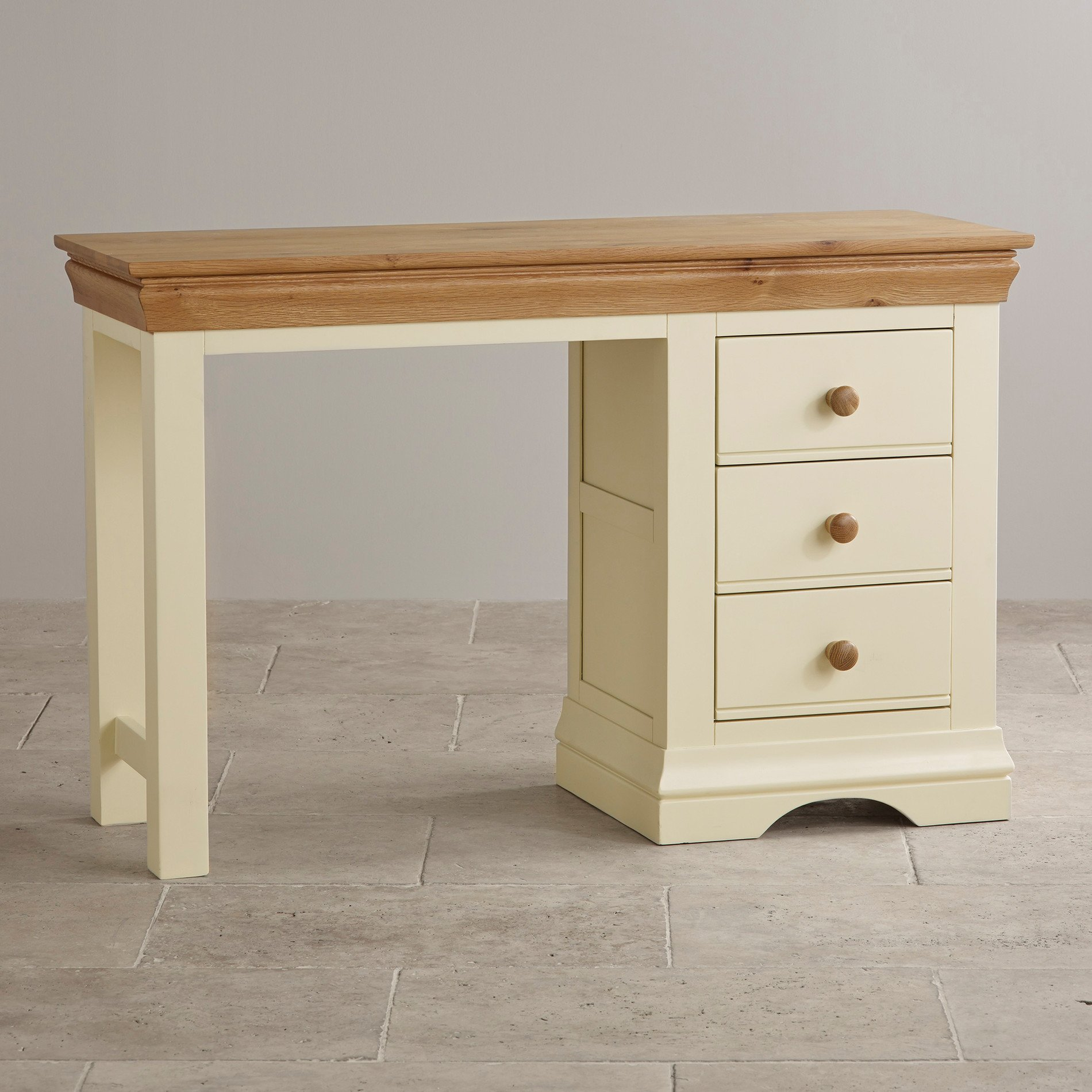 Country cottage painted dressing table in natural oak