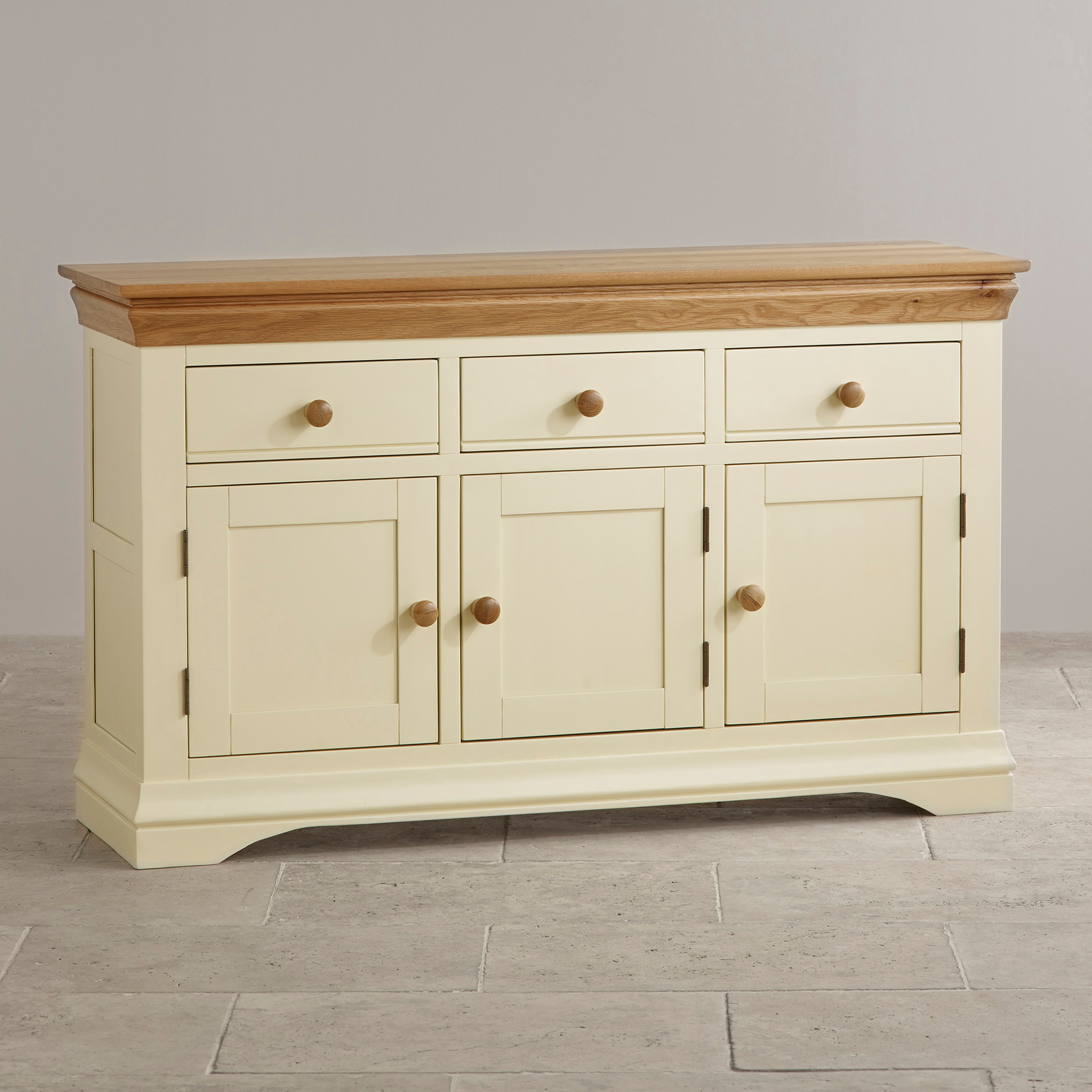 Country cottage natural oak large sideboard cream painted Images of painted furniture