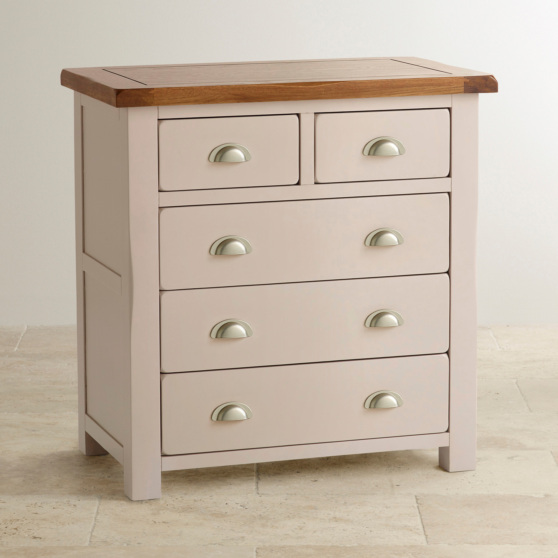 Daisy chest of drawers in painted rustic oak oak Nursery chest of drawers with changer