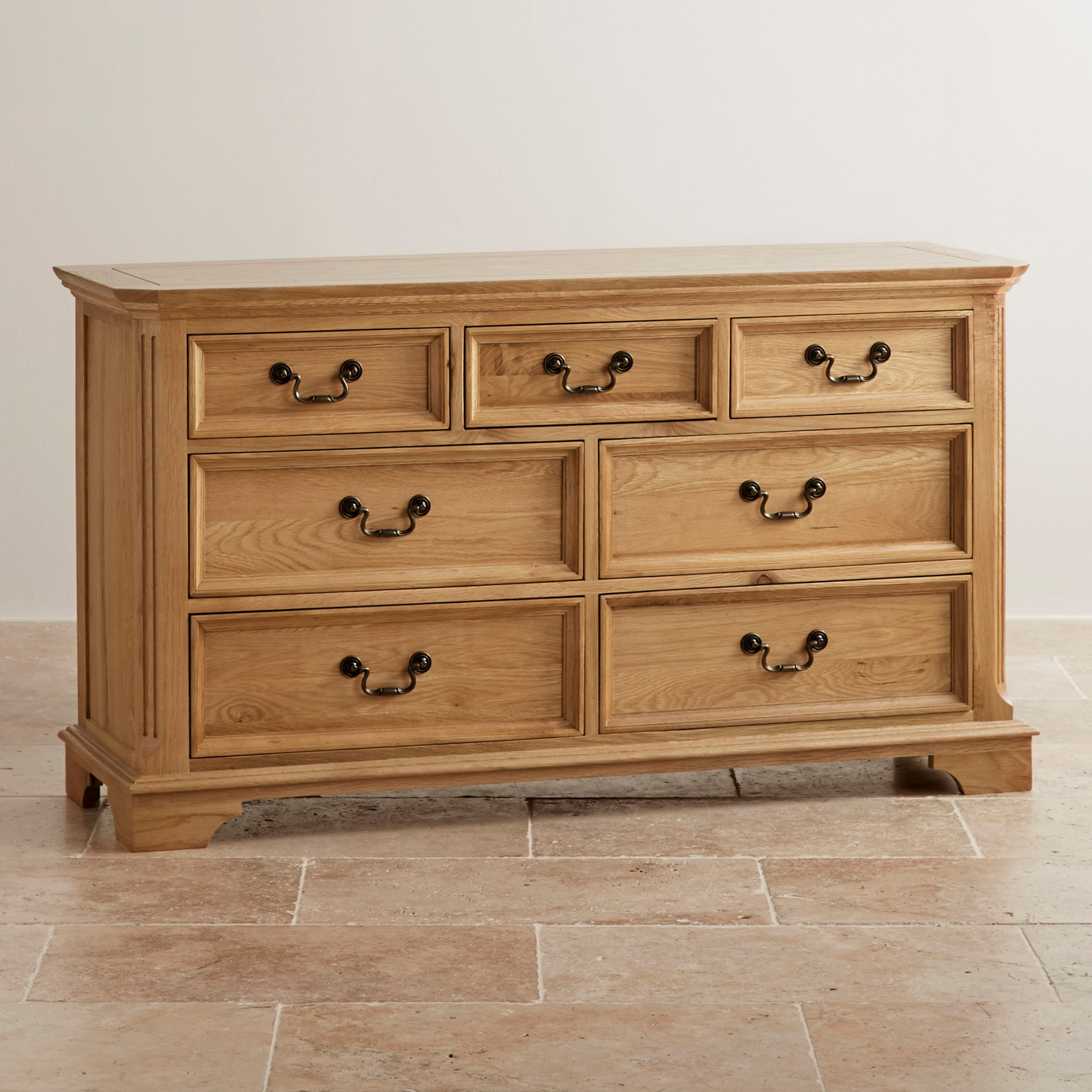 Edinburgh natural solid oak 3 4 chest of drawers for Solid oak furniture