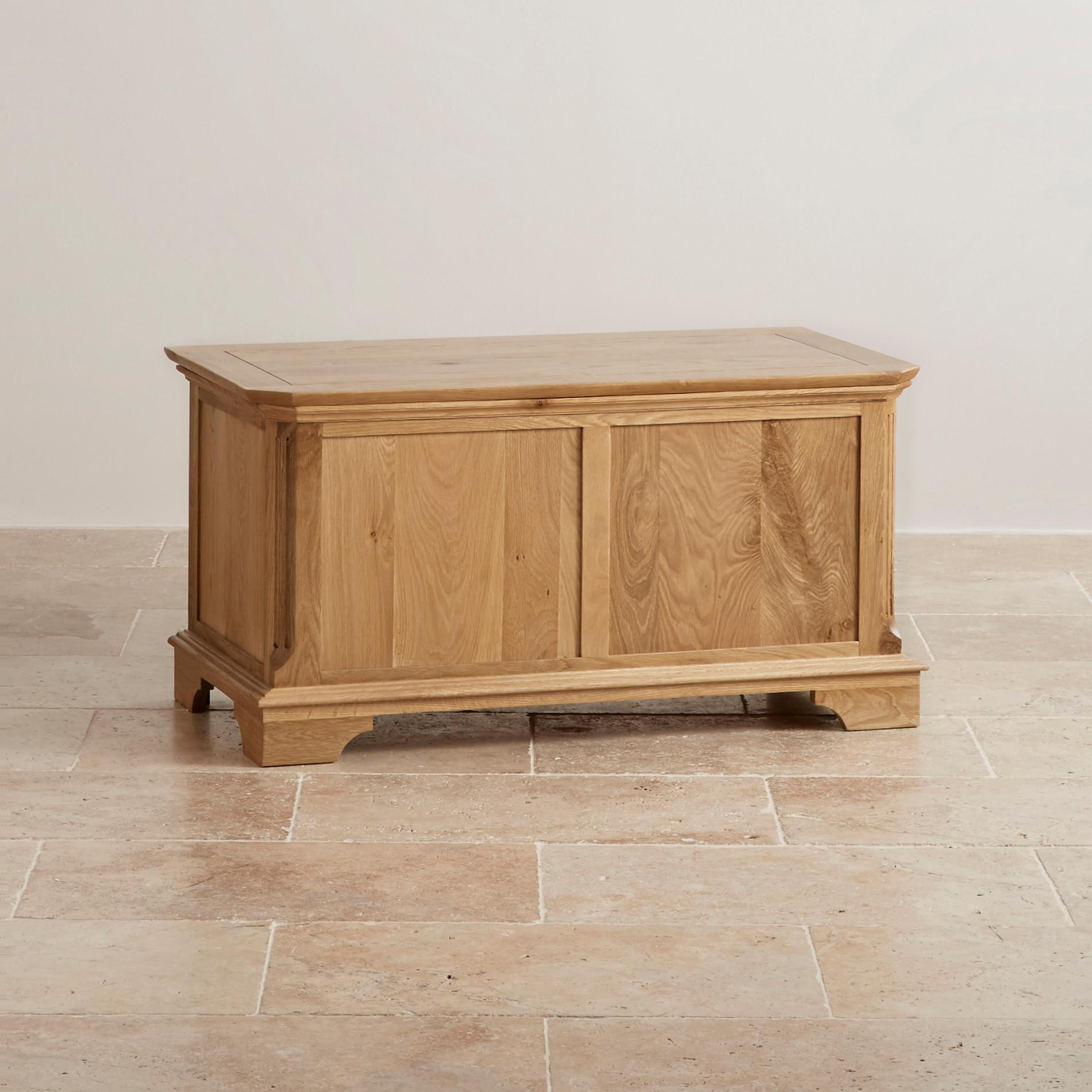 Edinburgh natural solid oak blanket box by oak furniture land for Furniture land