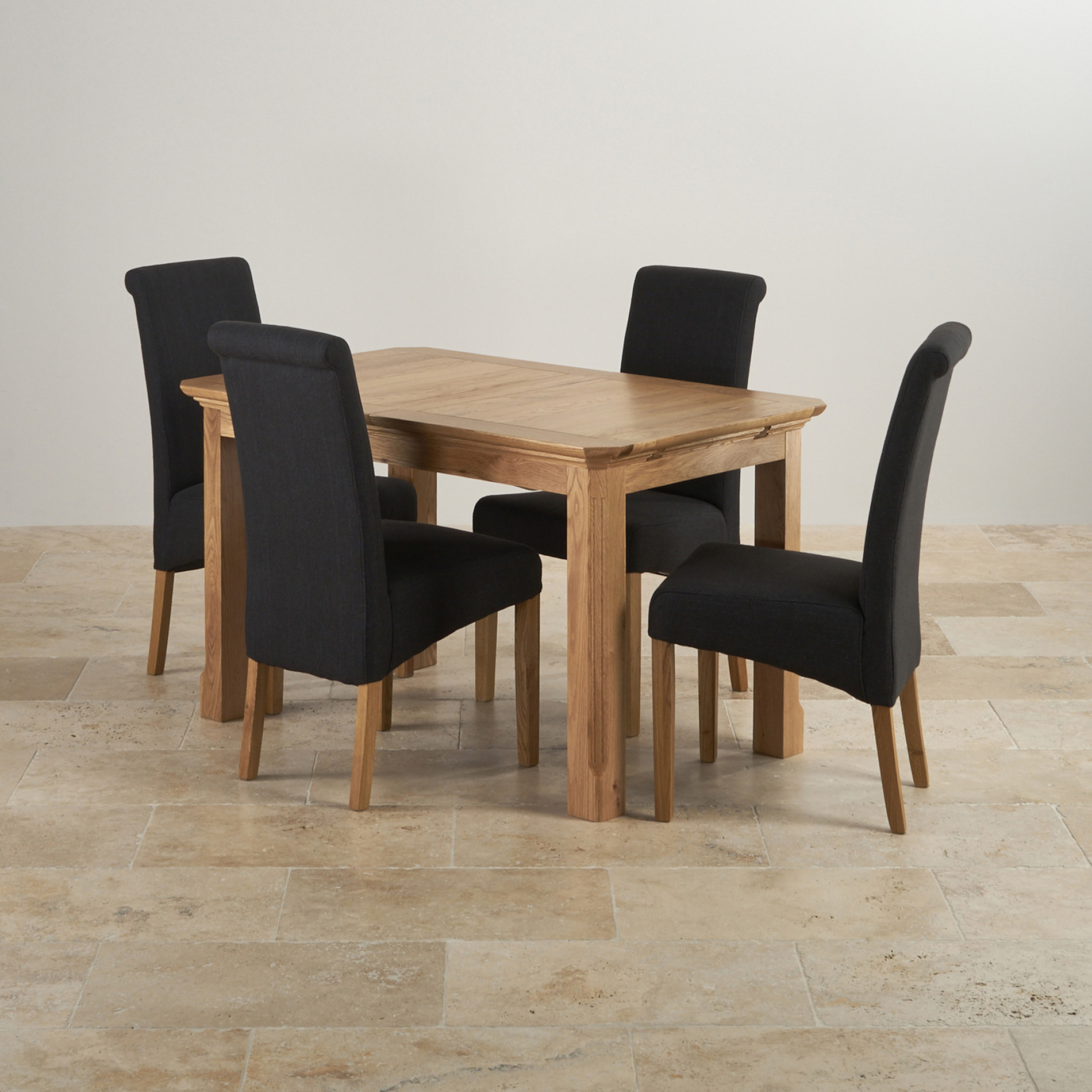 Black fabric dining chairs - Edinburgh Natural Real Oak 4ft Extending Table With 4 Scroll Back Plain Black Fabric Chairs