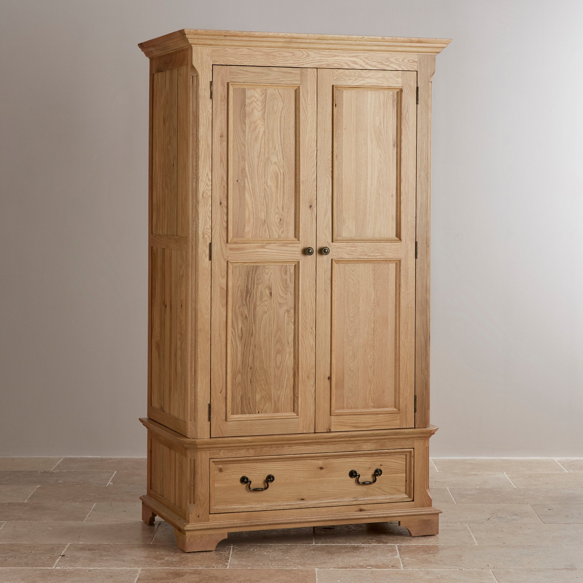 double wardrobe in natural solid oak. Black Bedroom Furniture Sets. Home Design Ideas