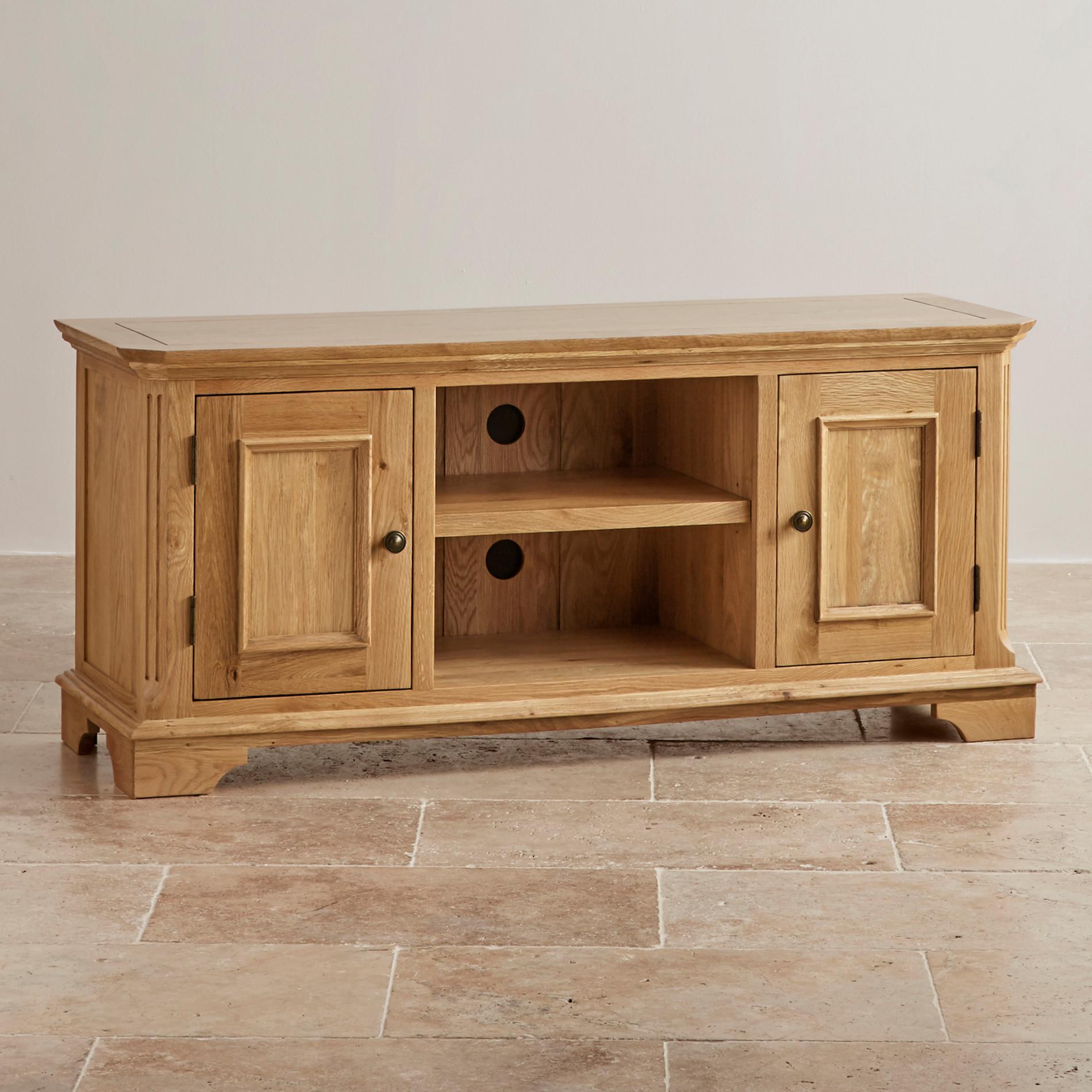 Solid wood tv cabinet with display cabinet living room furniture - Edinburgh Natural Solid Oak Large Tv Cabinet