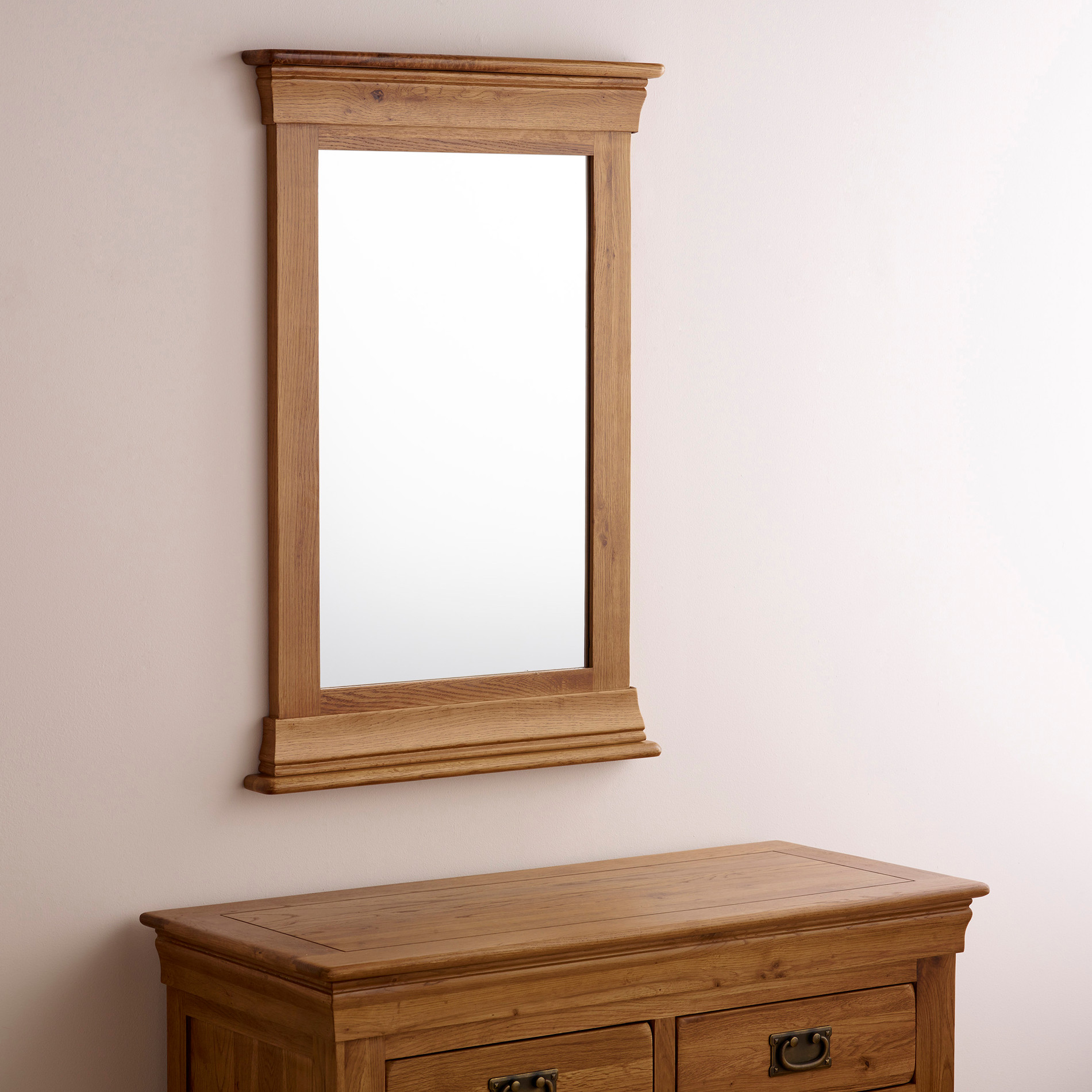 French farmhouse wall mirror in rustic oak oak furniture for Rustic mirror