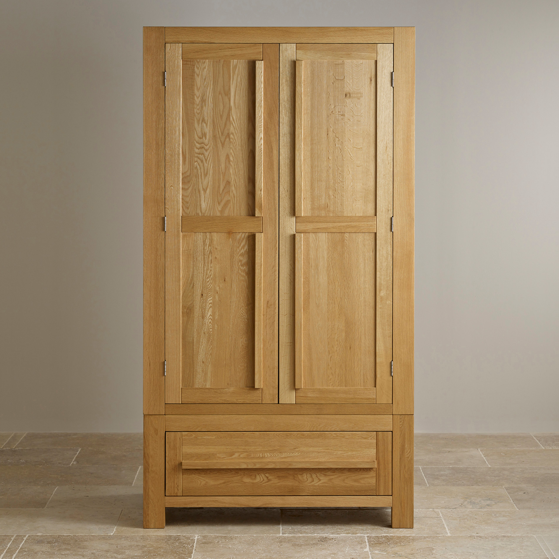fresco double wardrobe in natural solid oak oak. Black Bedroom Furniture Sets. Home Design Ideas
