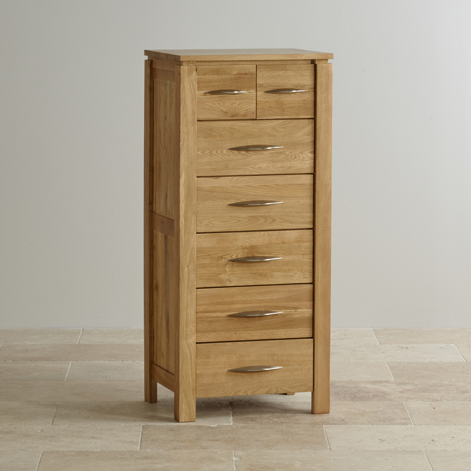 Galway natural solid oak tall drawer chest