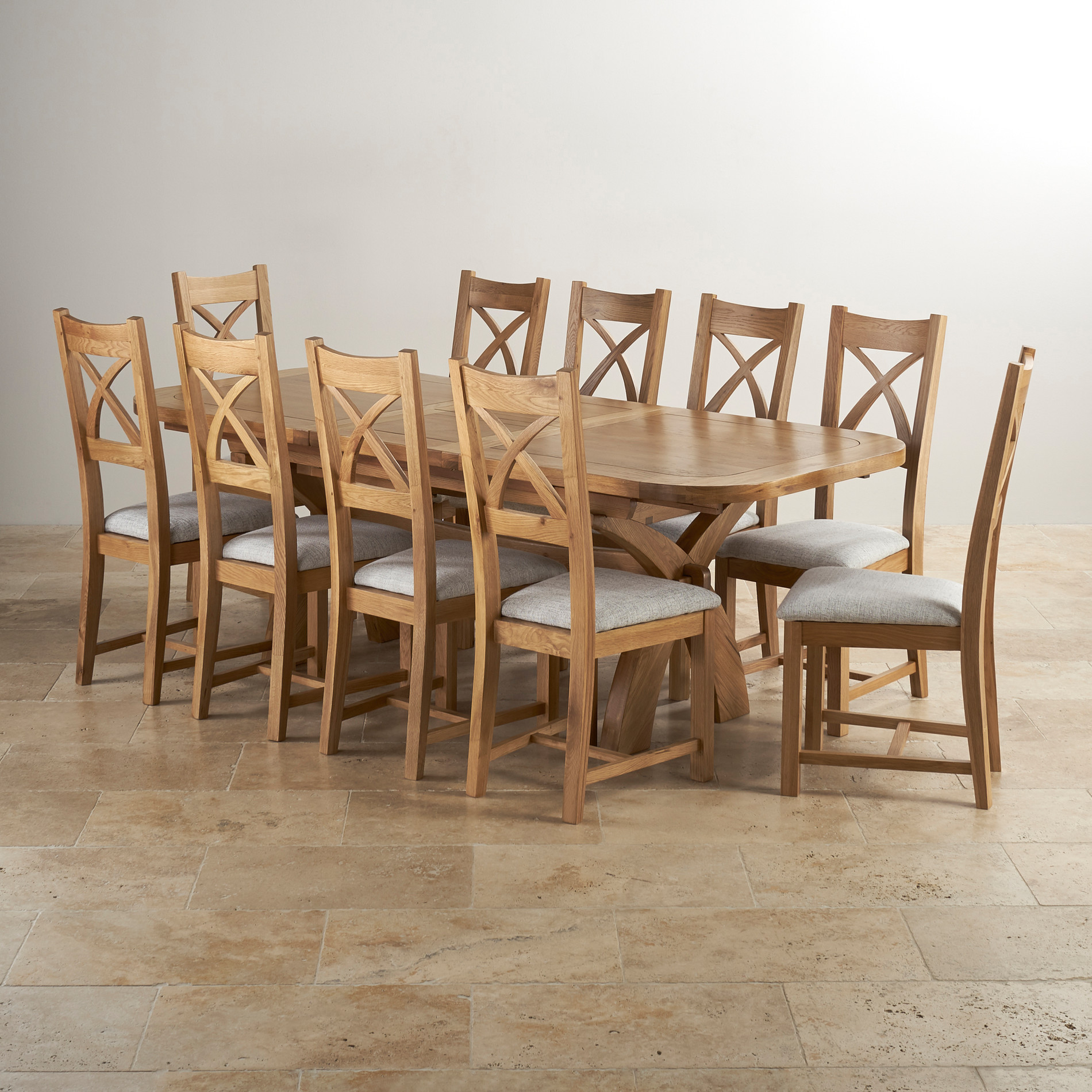 Hercules Extending Dining Table In Natural Oak + 10 Chairs
