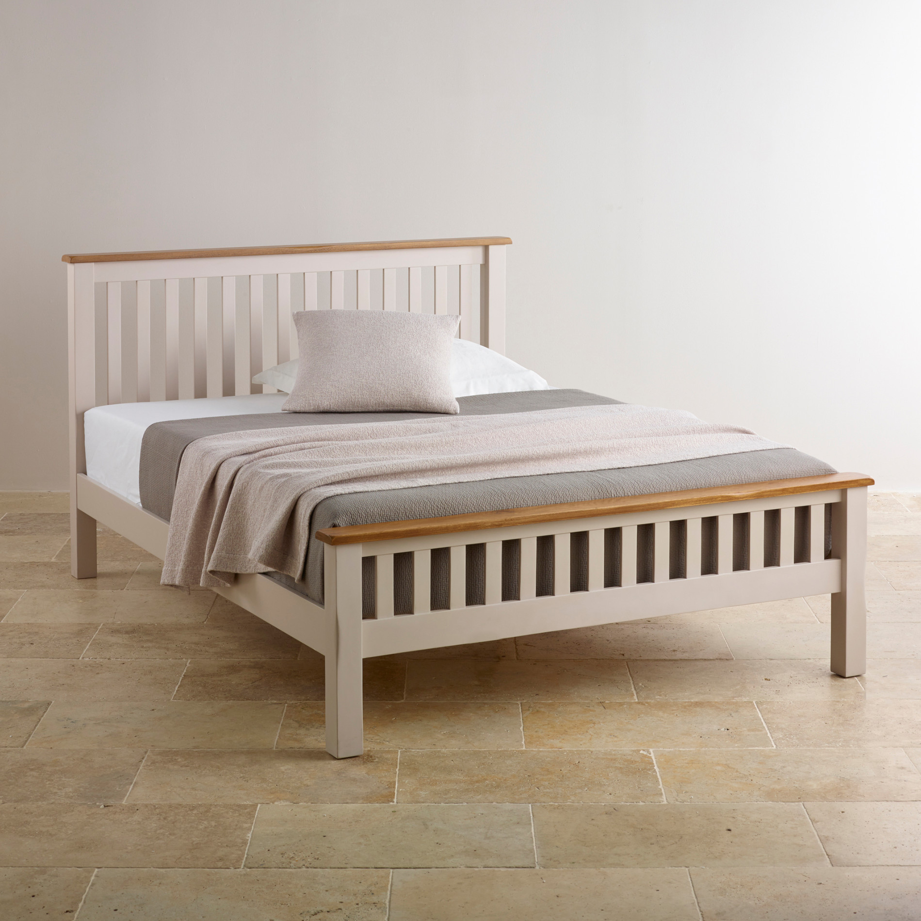 "Custom Delivery Kemble Rustic Solid Oak and Painted 4ft 6"" Double Bed"