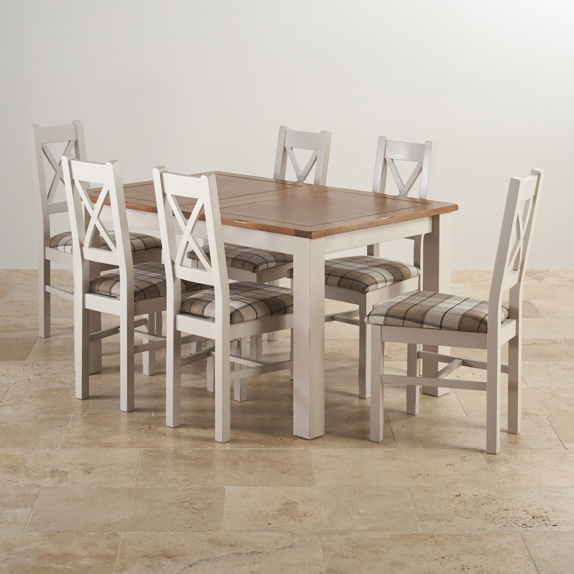 Rustic solid oak and painted dining set with six chairs - Extended dining table sets ...