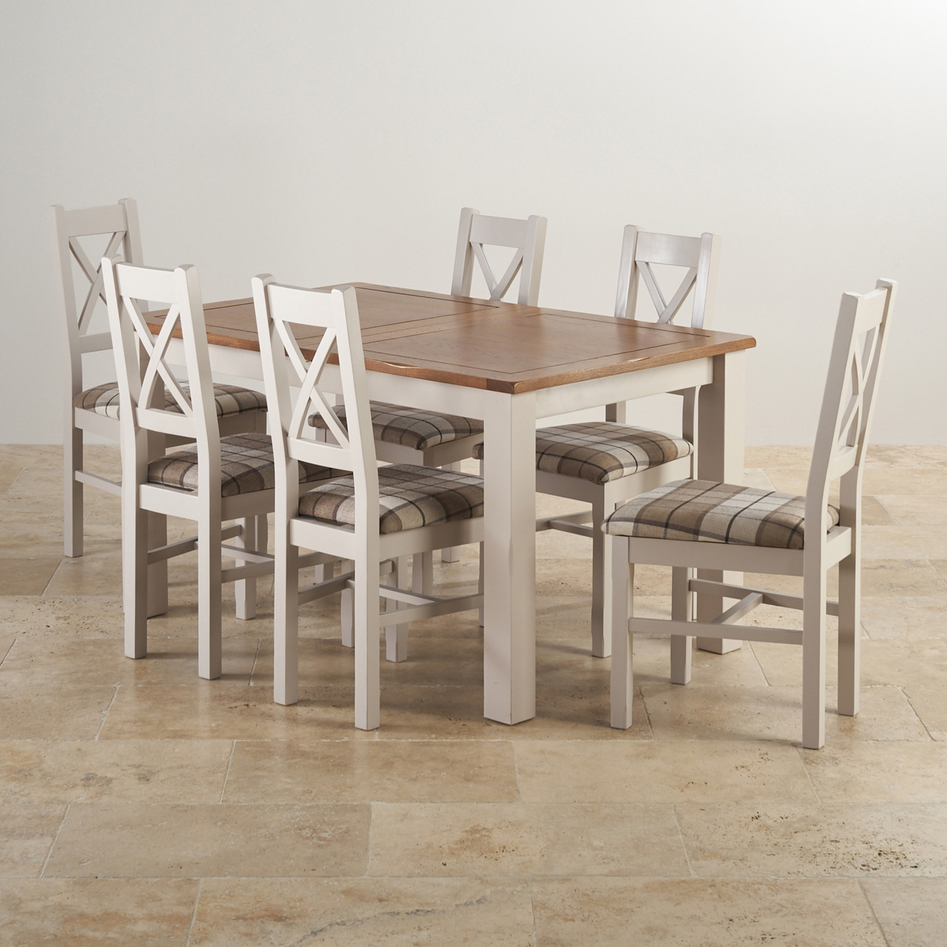 Rustic solid oak and painted dining set with six chairs.