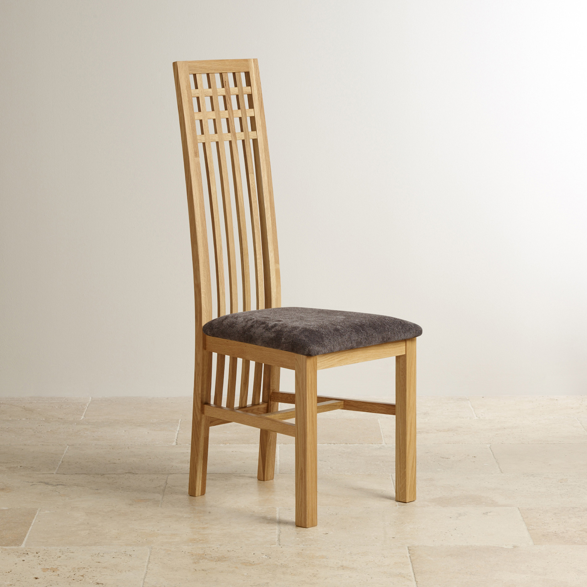 lattice back natural oak and plain charcoal fabric dining chair
