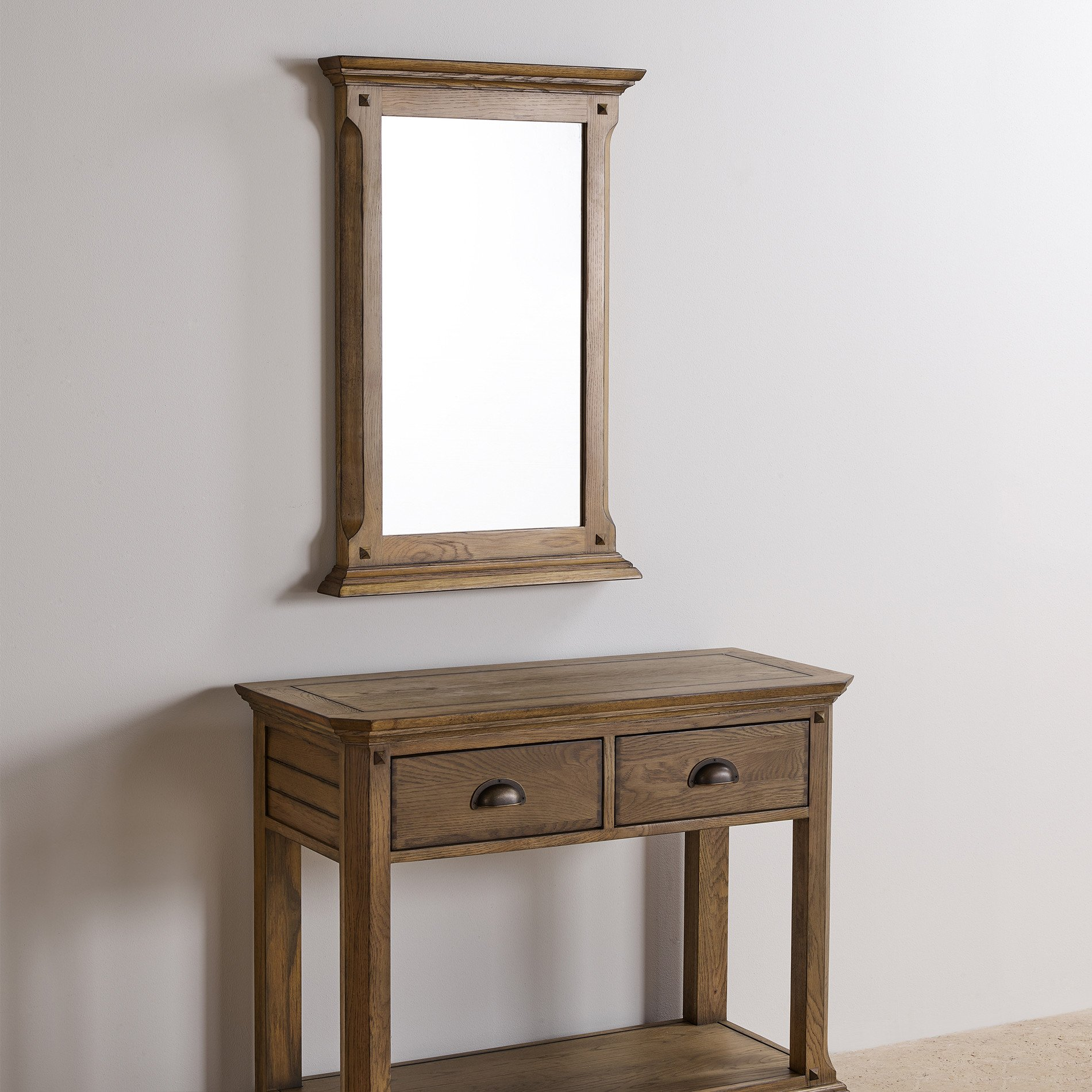 Manor house solid oak 900mm x 600mm wall mirror for Mirror 900 x 600