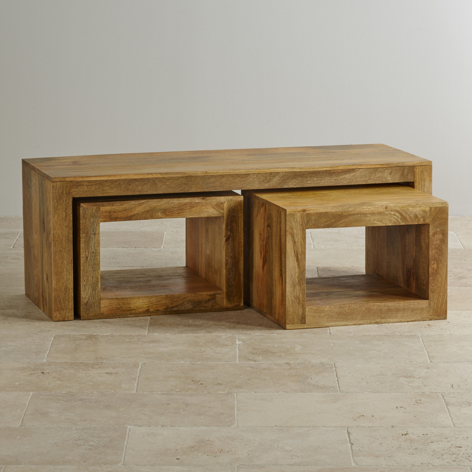 mantis light three cube nest of tables in natural solid mango. Black Bedroom Furniture Sets. Home Design Ideas
