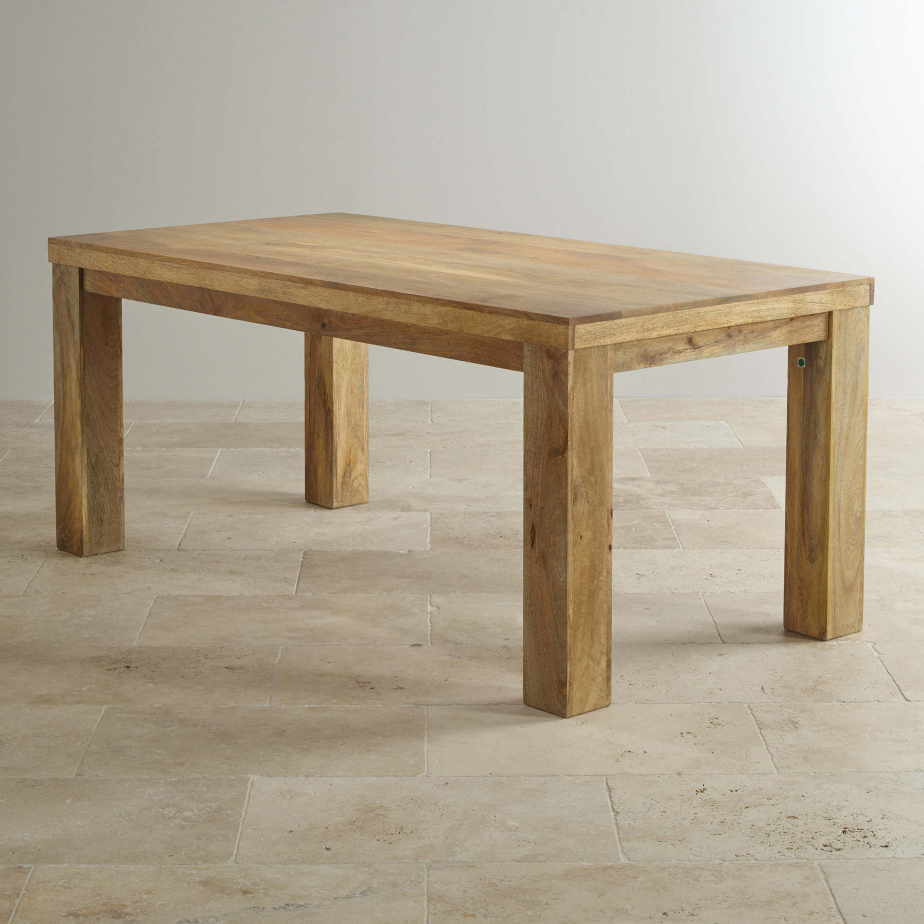 Mantis light 6ft x 3ft dining table in natural solid mango for Light wood dining room table