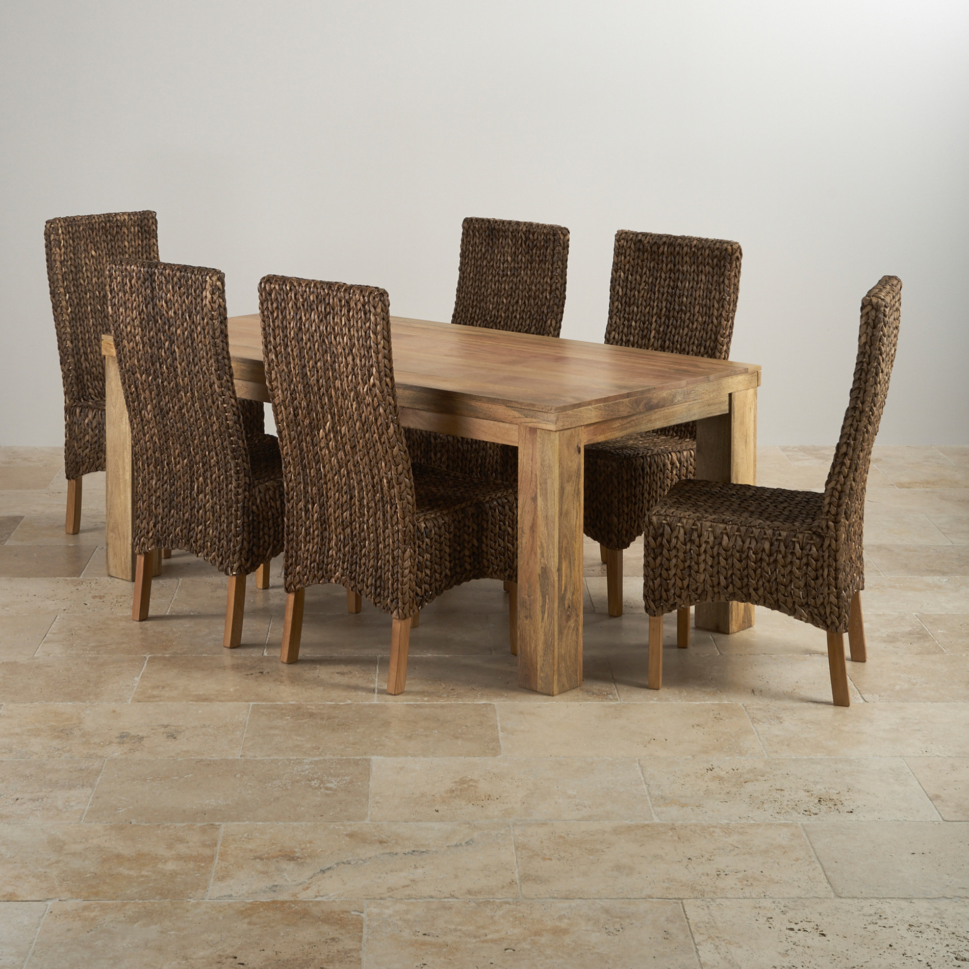 Mantis Light Dining Set In Natural Mango Dining Table 6 Chairs