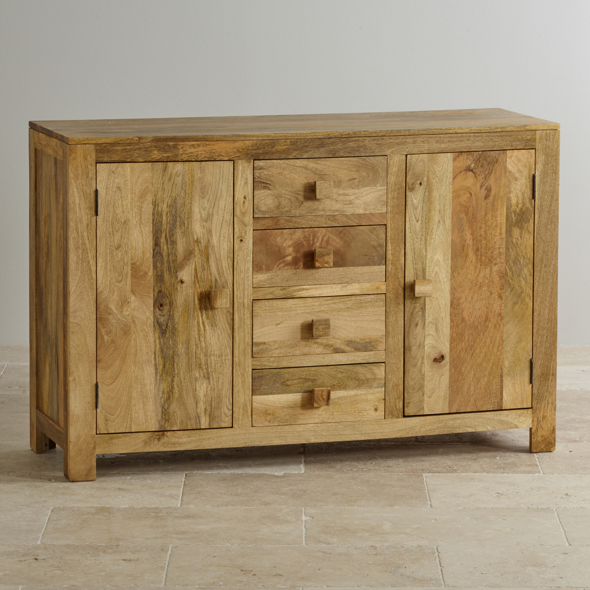 Mantis light large sideboard in solid mango oak furniture for Solid oak furniture
