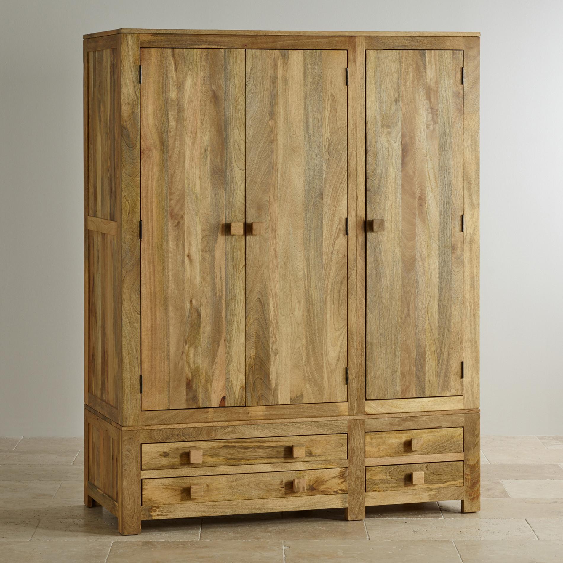 mantis light triple wardrobe in solid mango oak furniture land. Black Bedroom Furniture Sets. Home Design Ideas