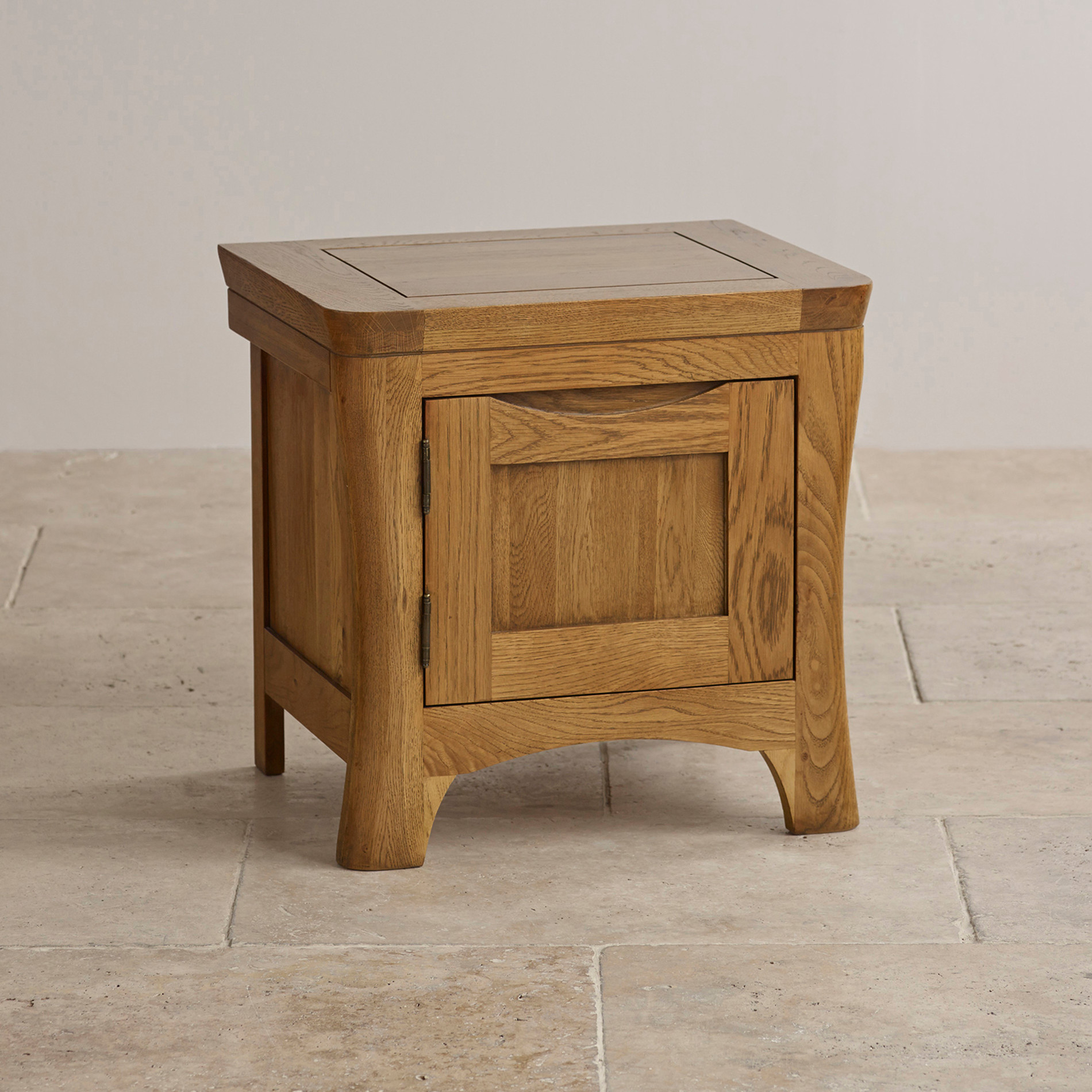 Orrick 1 door bedside cabinet rustic solid oak for Oak bedroom furniture 0 finance