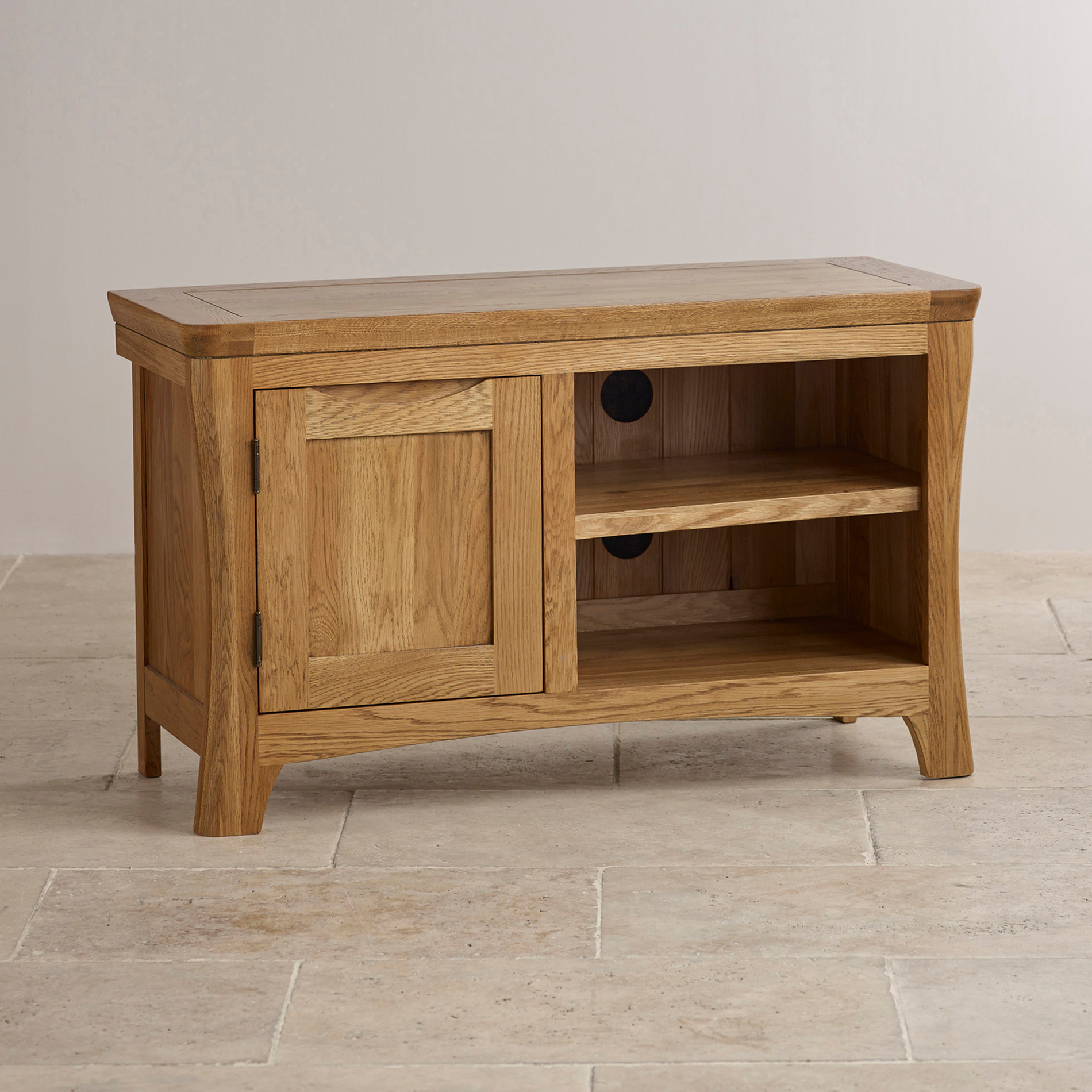 Orrick tv cabinet in rustic solid oak oak furniture land for Furniture land