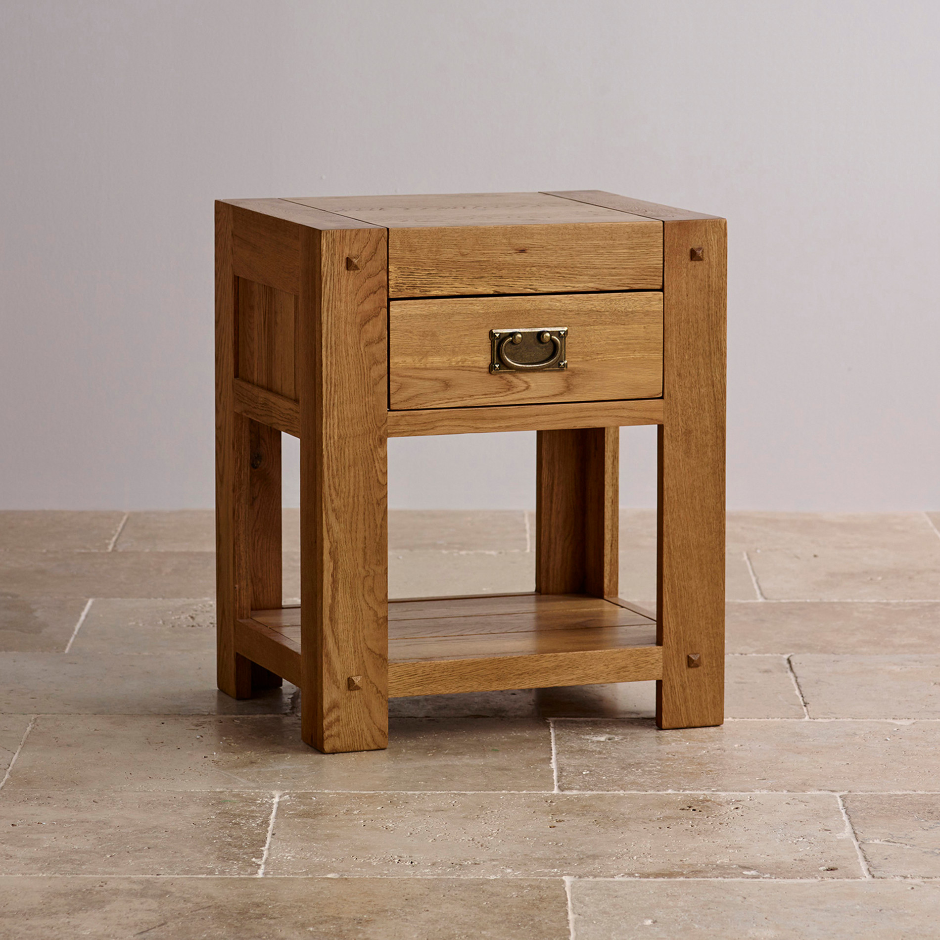 Quercus 1 drawer bedside table rustic solid oak - Bed side table ...