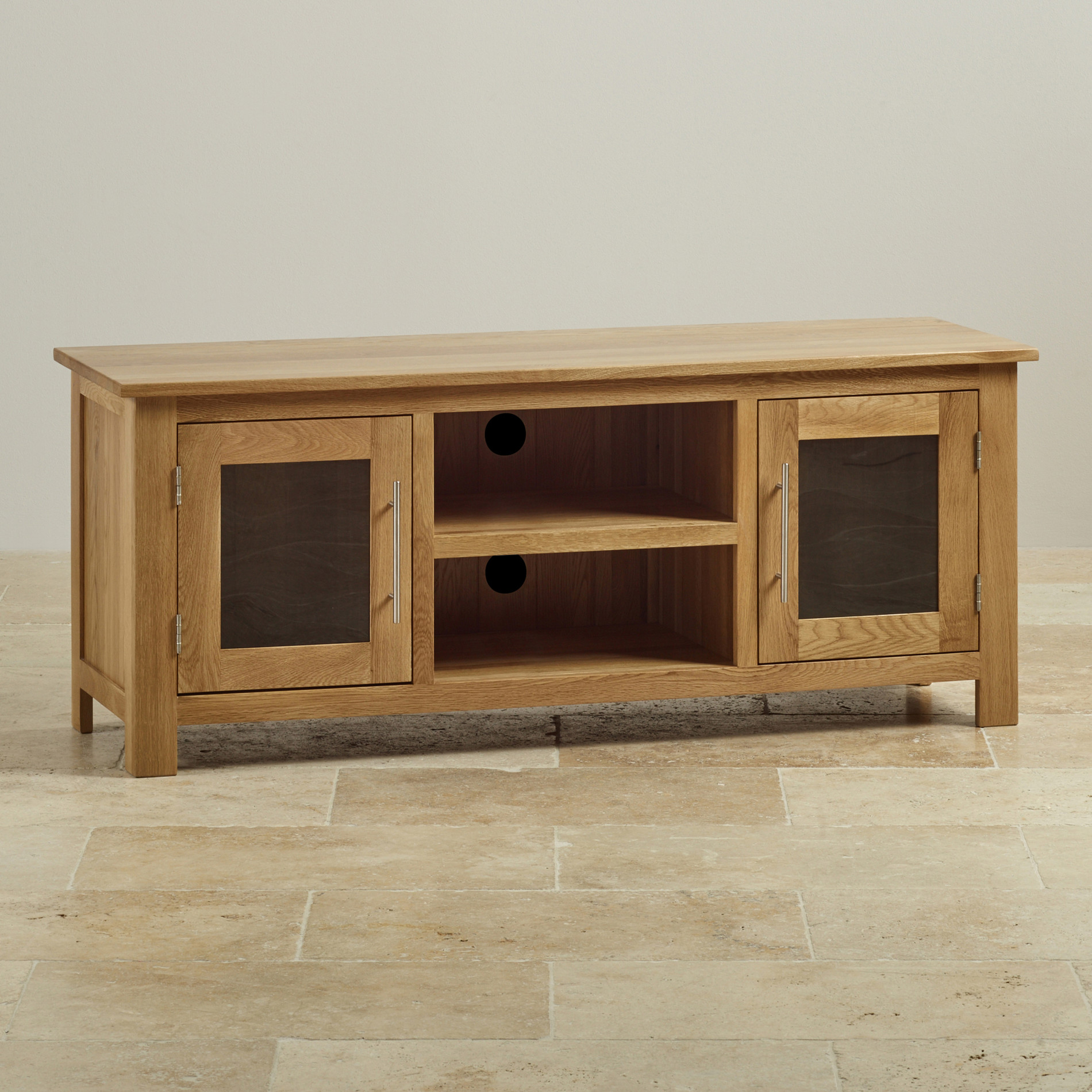 Rivermead tv cabinet in solid oak oak furniture land for Oak furniture land