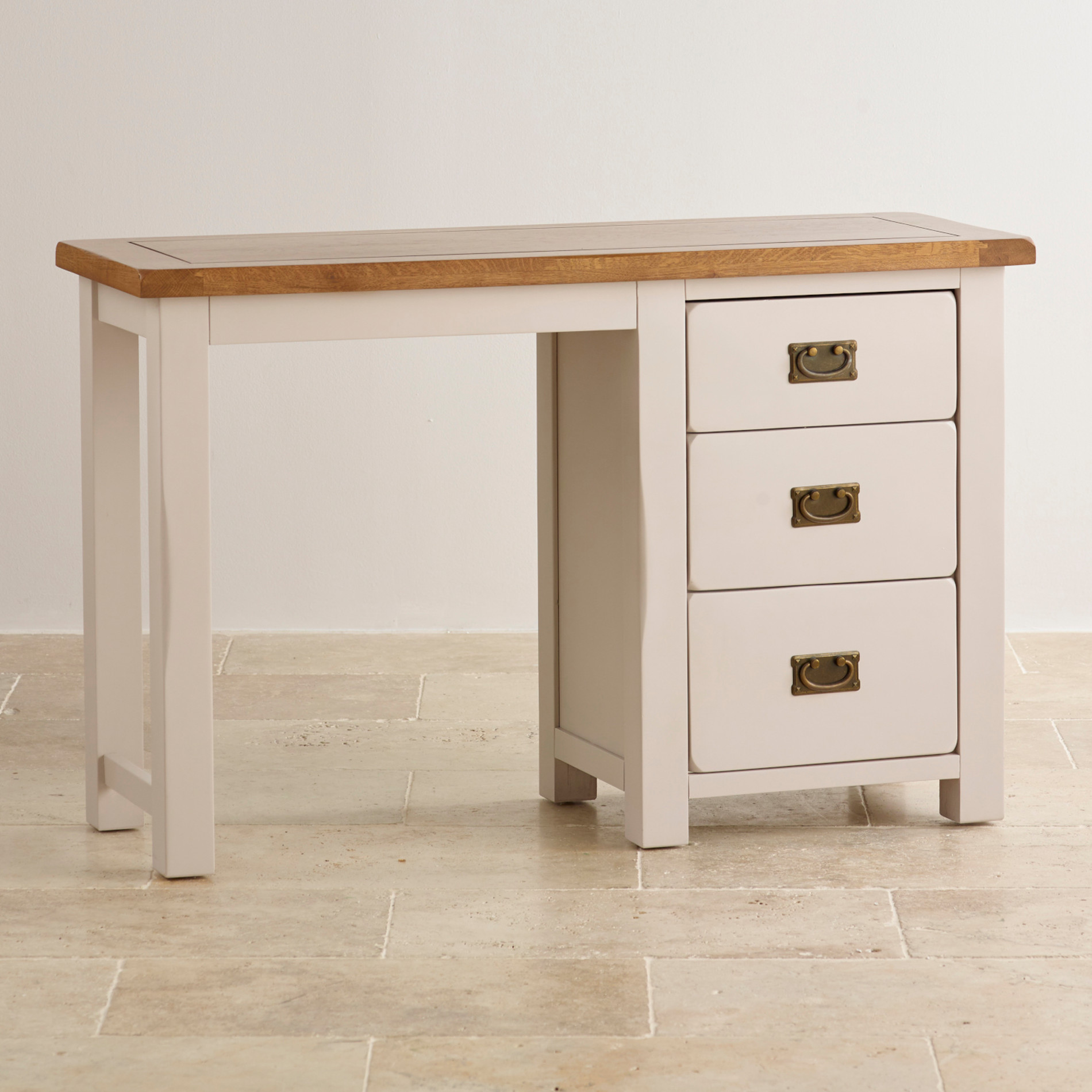 Kemble painted rustic solid oak drawer dressing table