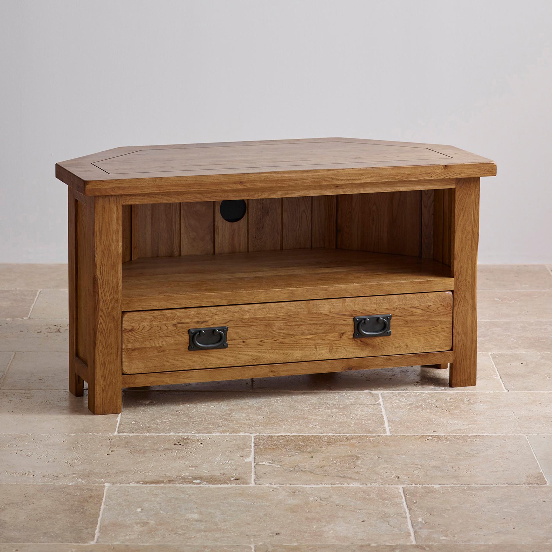 Original rustic corner tv cabinet in solid oak oak for Furniture land